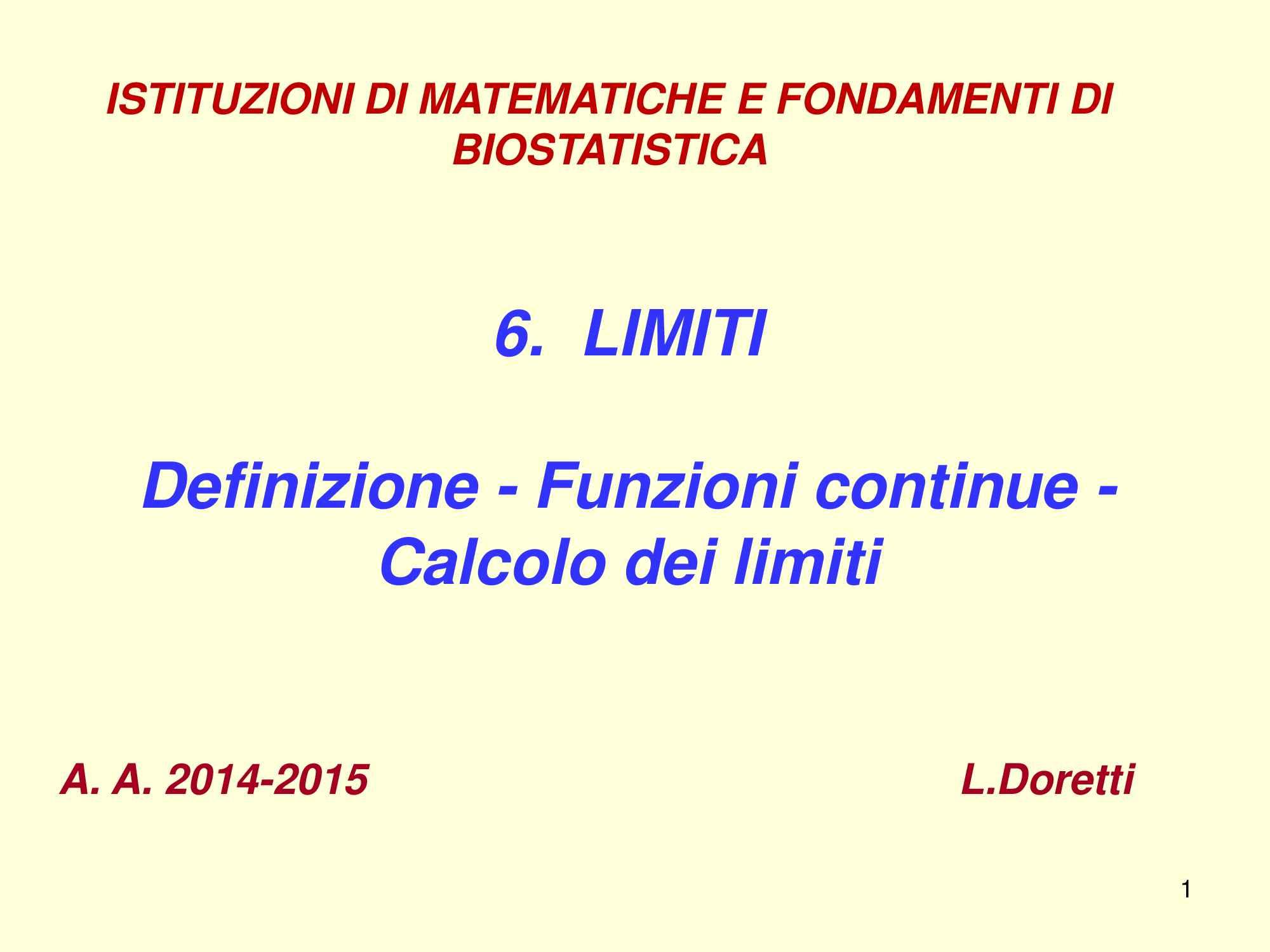 Limiti di funzioni