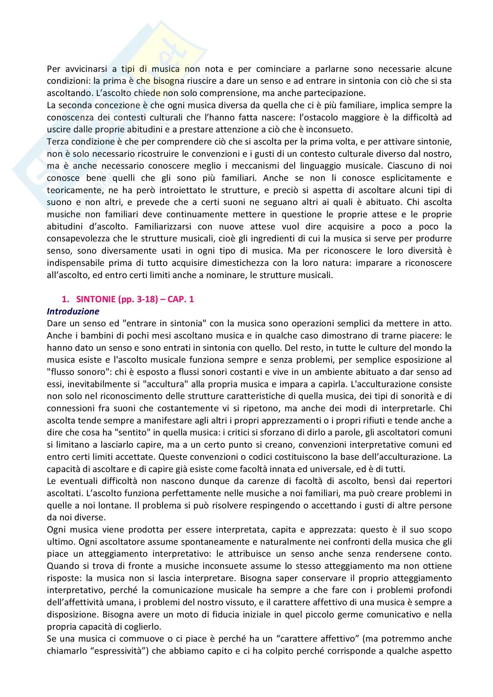 Riassunto esame Musica, prof. indefinito, libro consigliato L'Orecchio Intelligente, Baroni