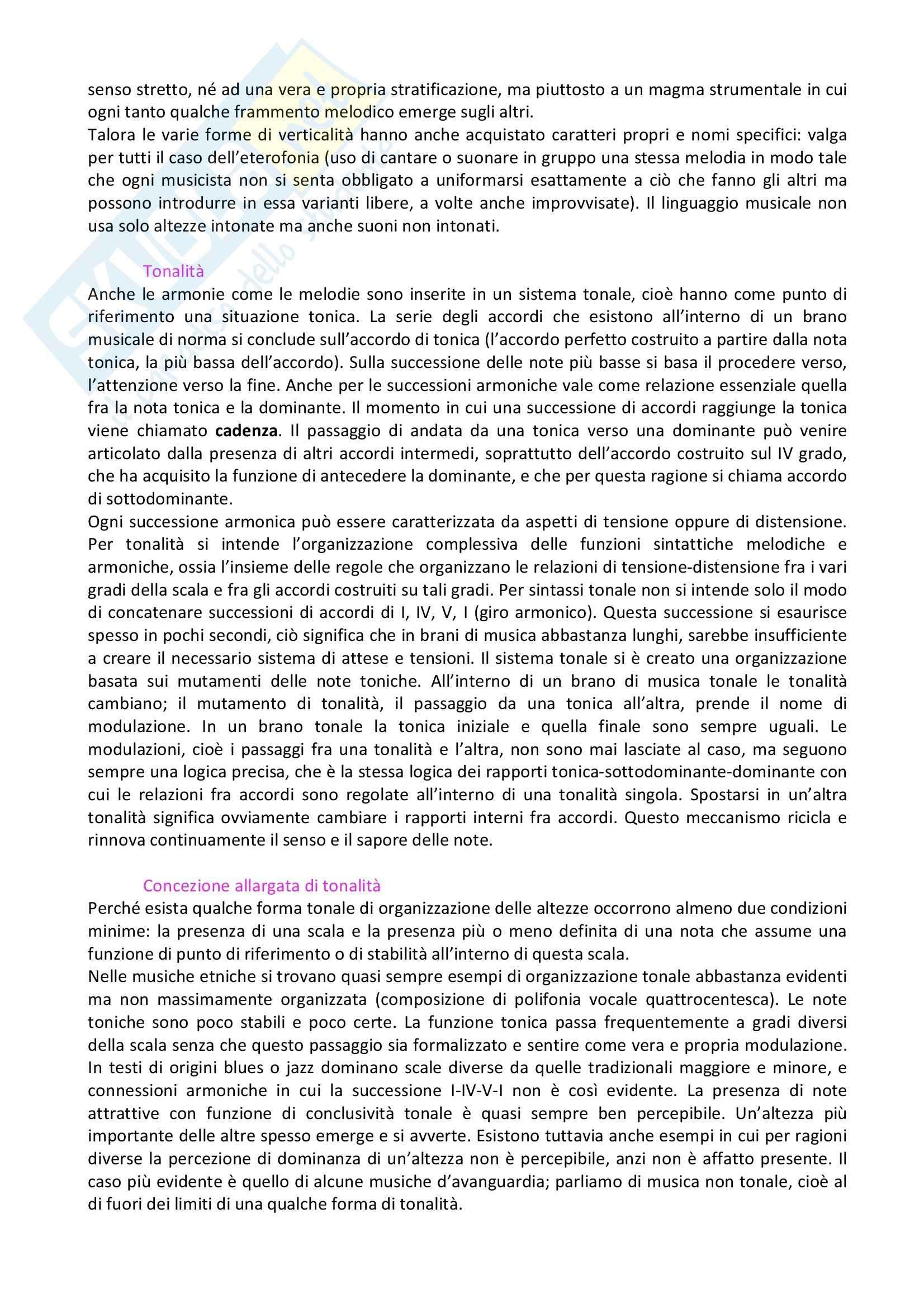 Riassunto esame Musica, prof. indefinito, libro consigliato L'Orecchio Intelligente, Baroni Pag. 11