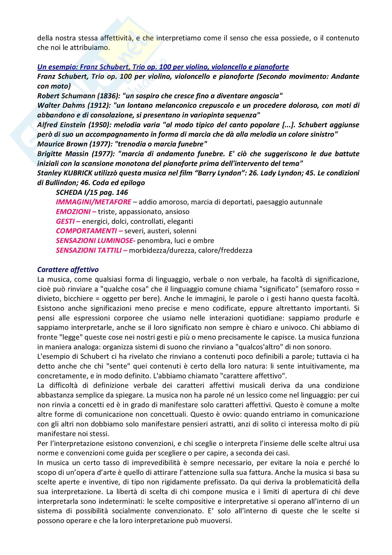 Riassunto esame Musica, prof. indefinito, libro consigliato L'Orecchio Intelligente, Baroni Pag. 2