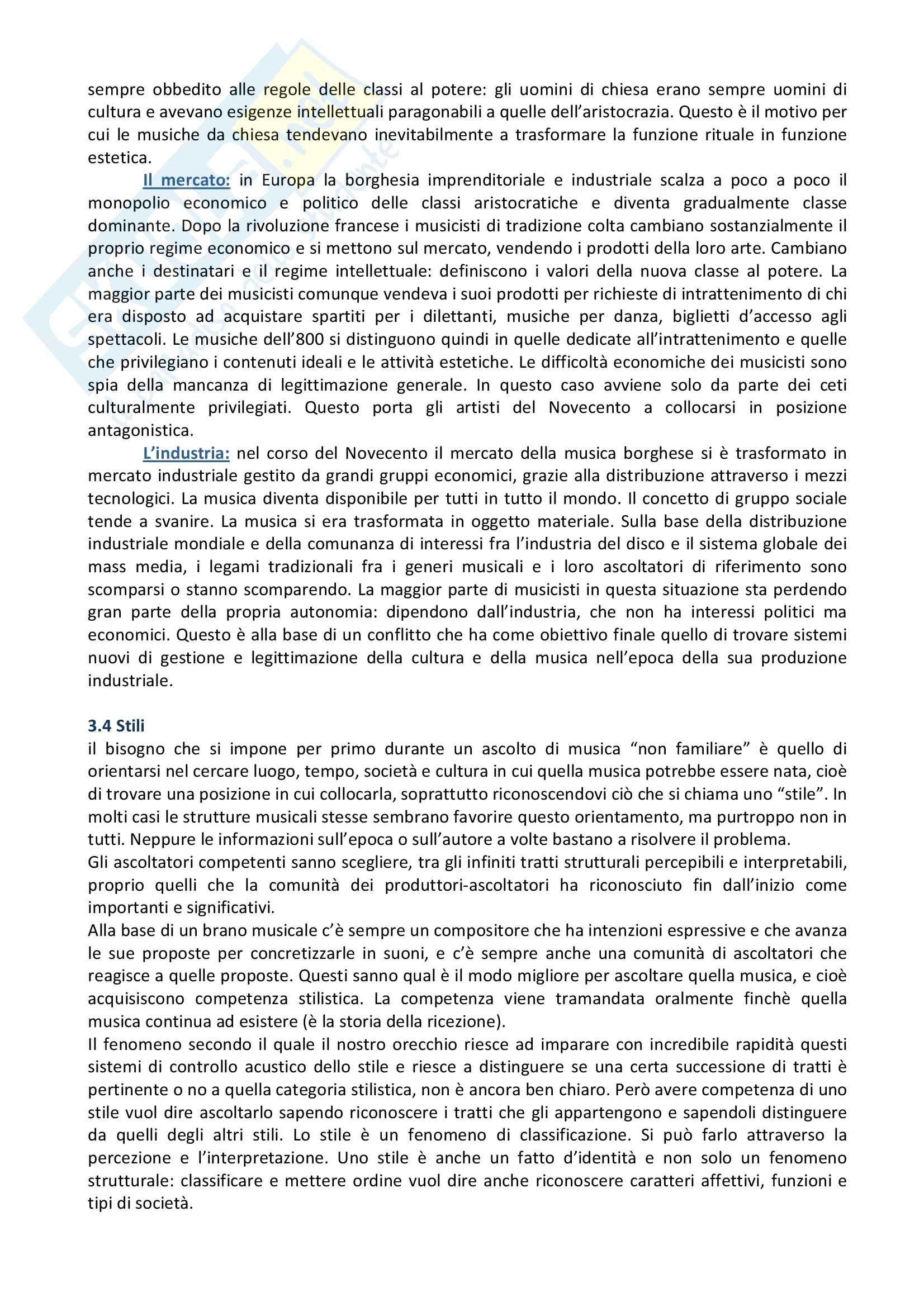 Riassunto esame Musica, prof. indefinito, libro consigliato L'Orecchio Intelligente, Baroni Pag. 21