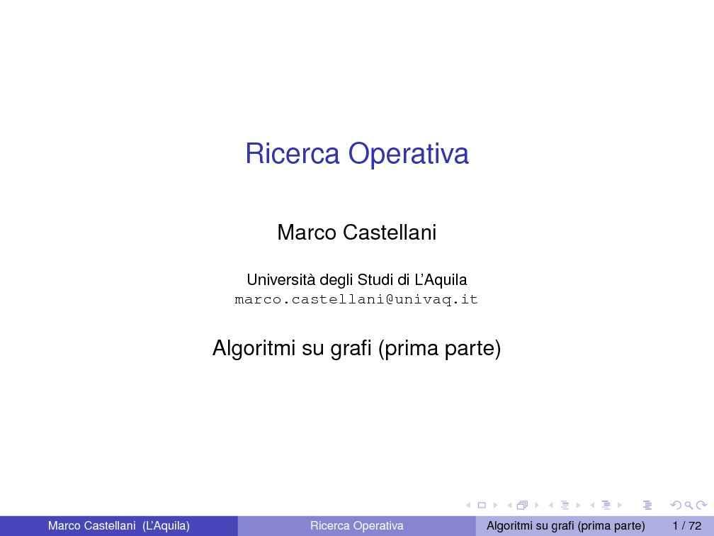 dispensa M. Castellani Ricerca Operativa