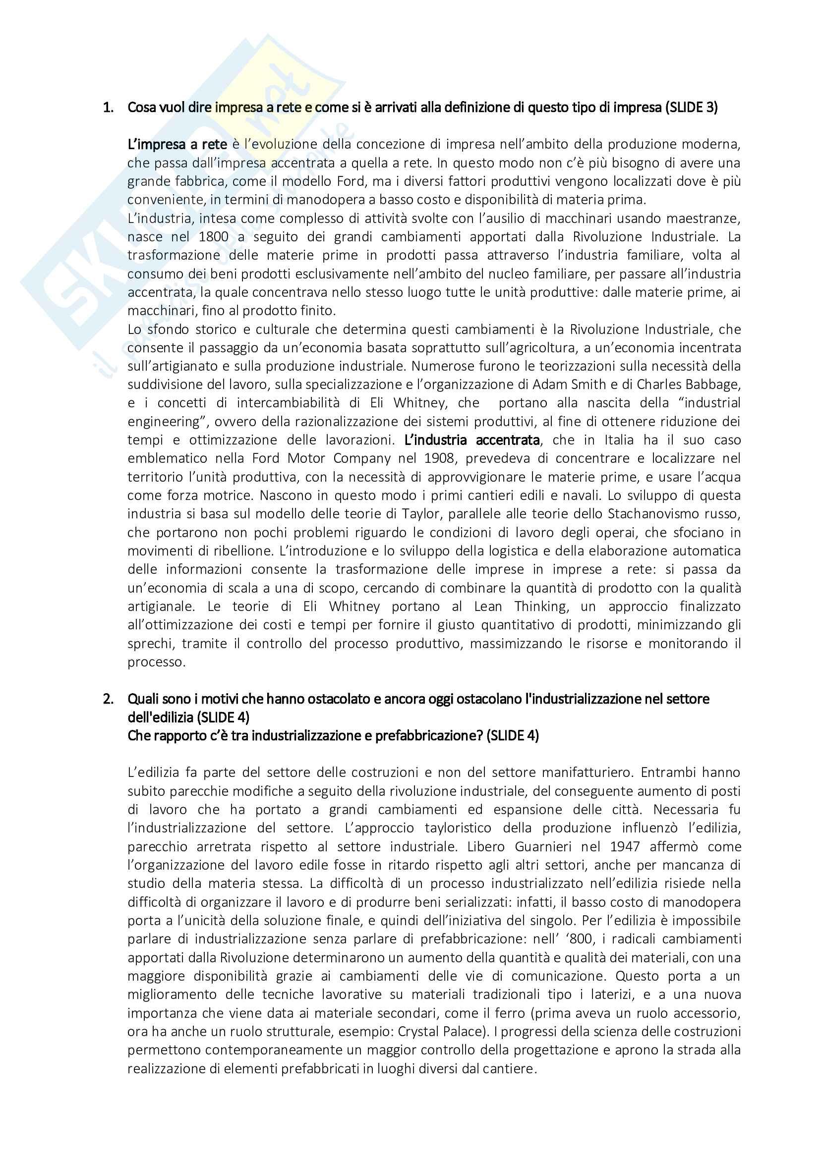 Organizzazione del Cantiere - Risposte alle Domande di Esame