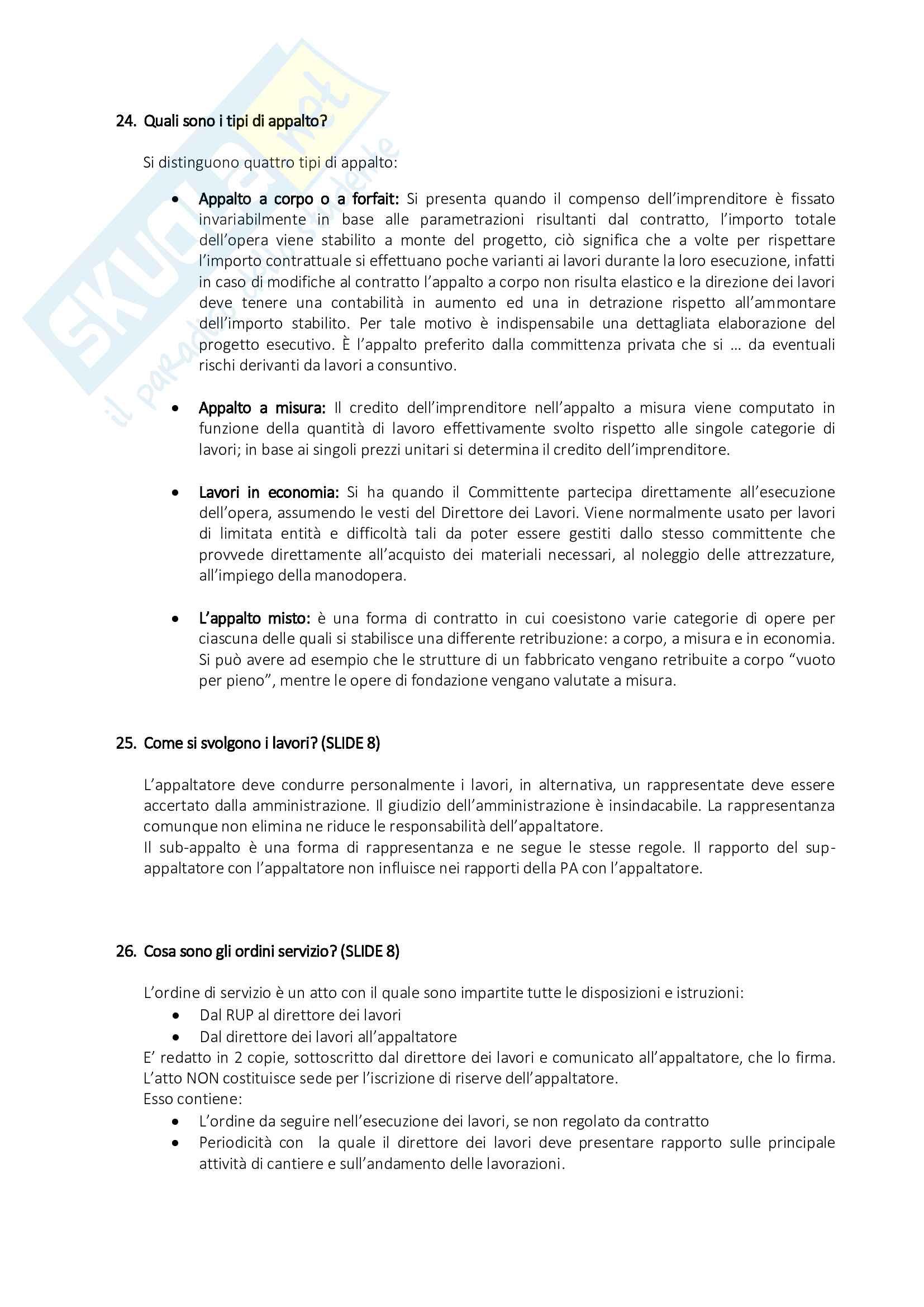 Organizzazione del Cantiere - Risposte alle Domande di Esame Pag. 11