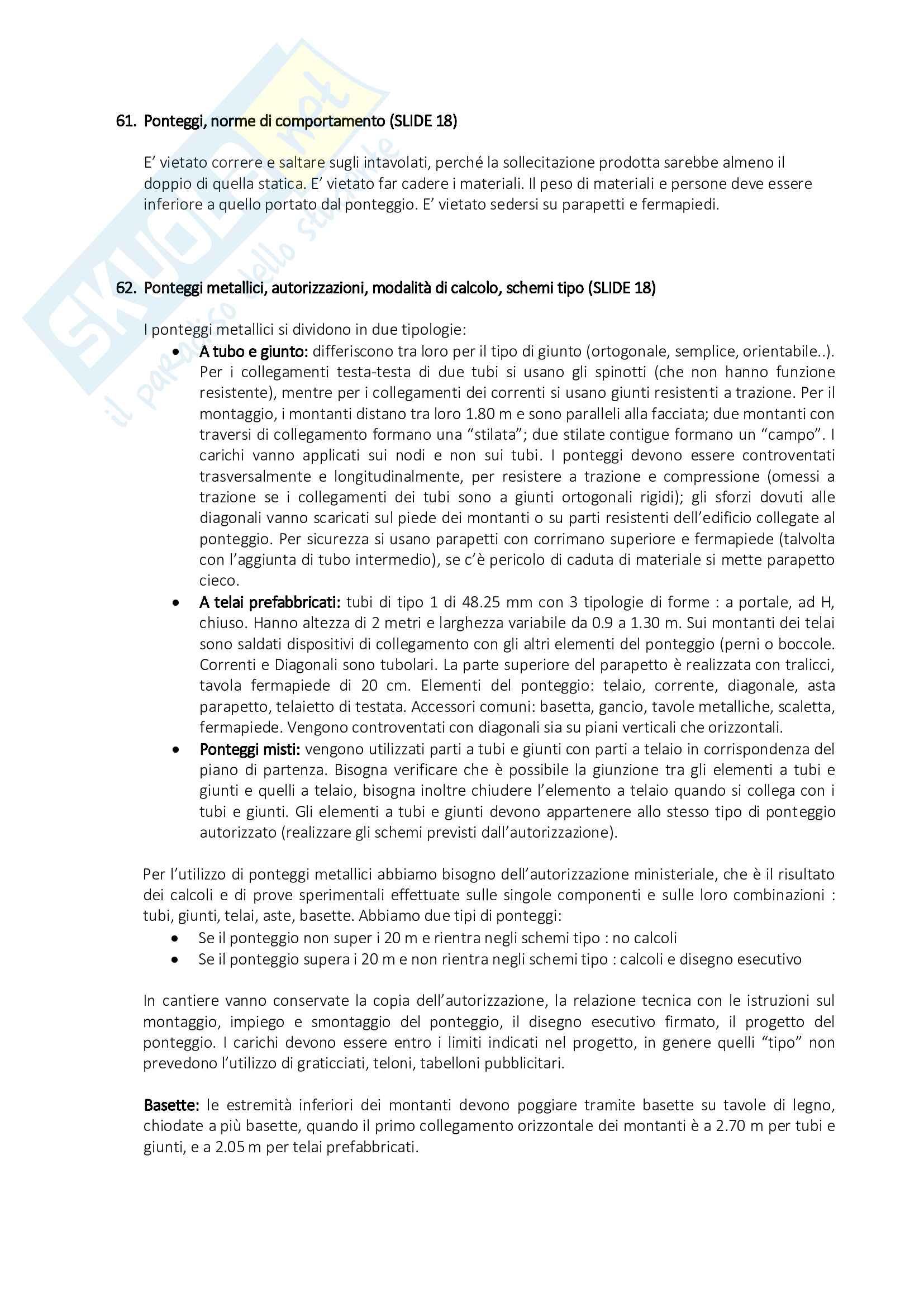 Organizzazione del Cantiere - Risposte alle Domande di Esame Pag. 26