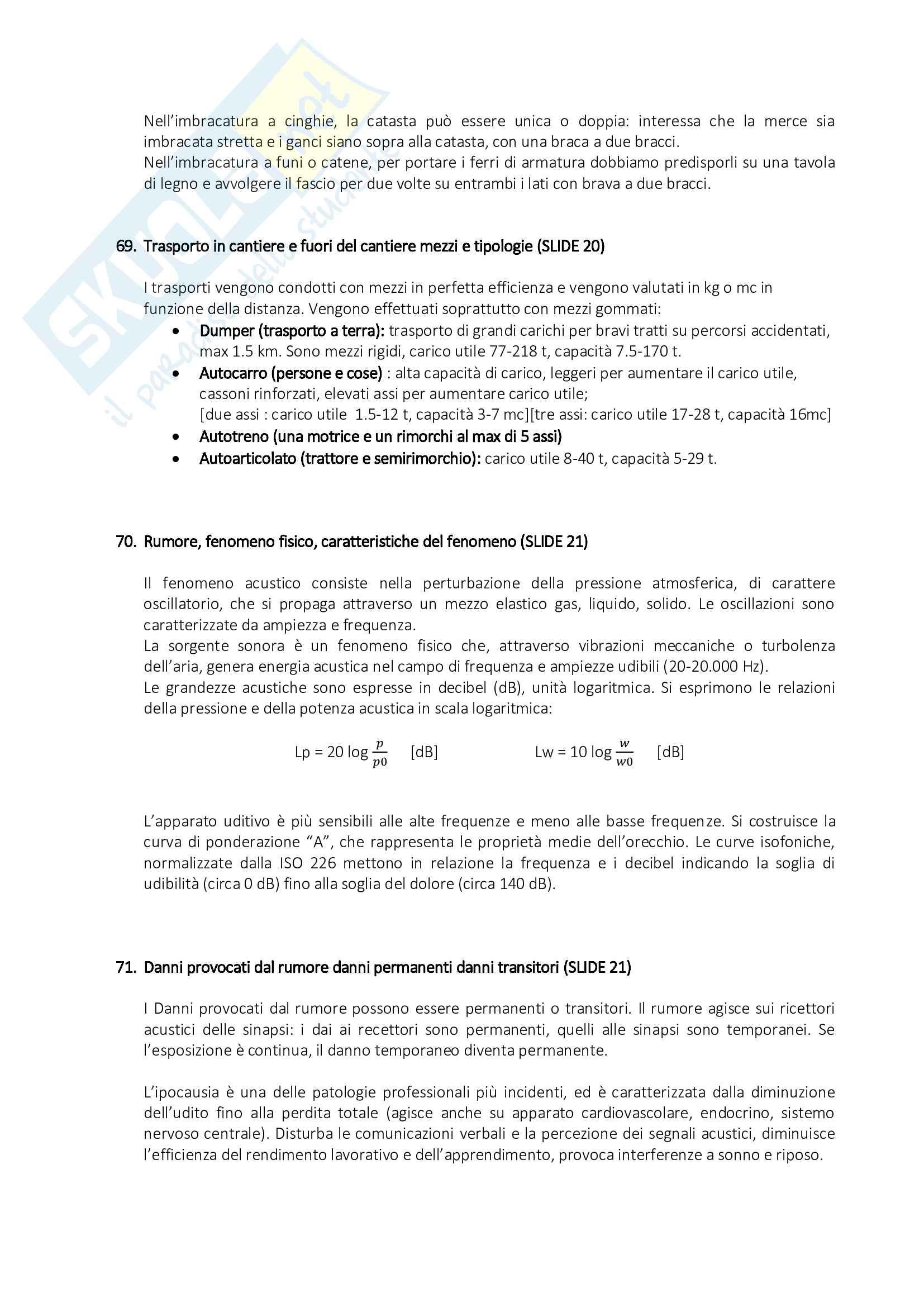 Organizzazione del Cantiere - Risposte alle Domande di Esame Pag. 31