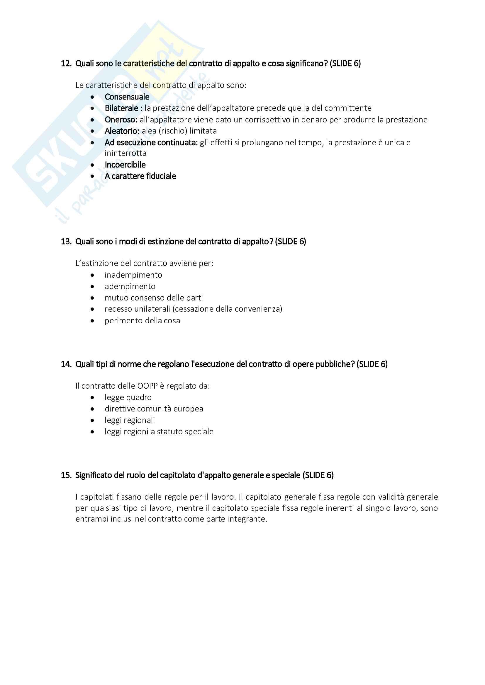 Organizzazione del Cantiere - Risposte alle Domande di Esame Pag. 6