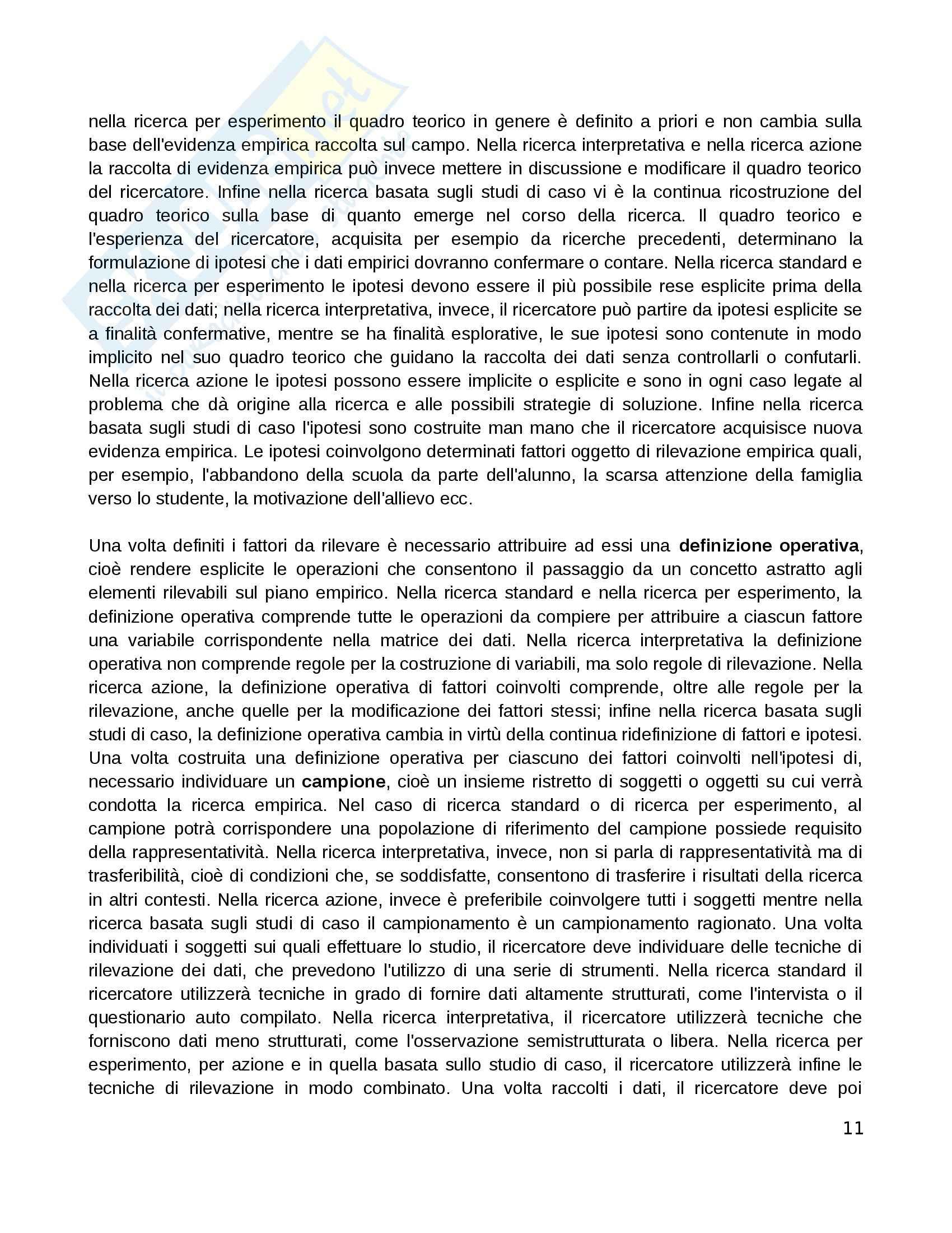 Riassunto esame Pedagogia sperimentale, prof. Di Gregorio, libro consigliato Manuale di ricerca educativa, Trinchero Pag. 11