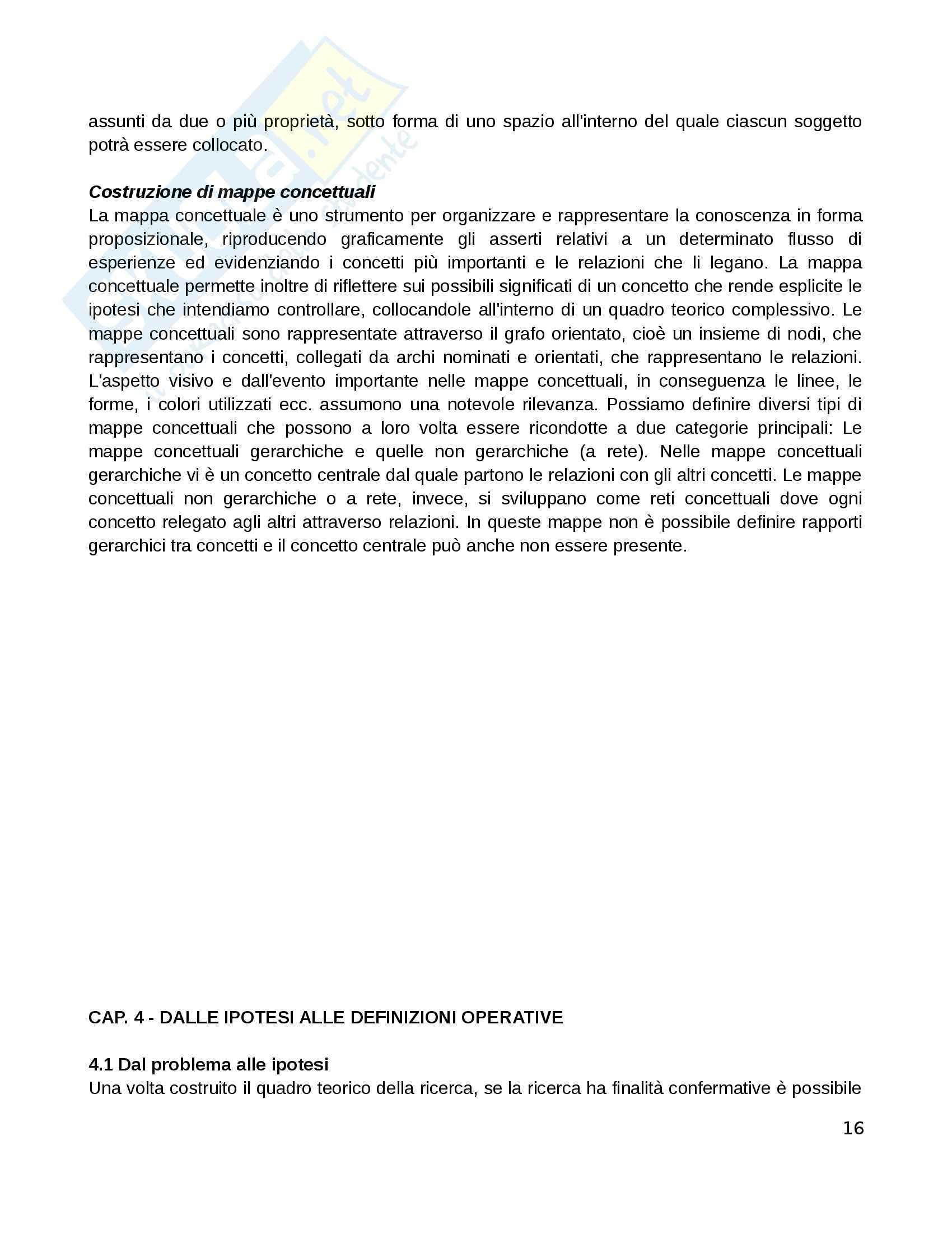 Riassunto esame Pedagogia sperimentale, prof. Di Gregorio, libro consigliato Manuale di ricerca educativa, Trinchero Pag. 16