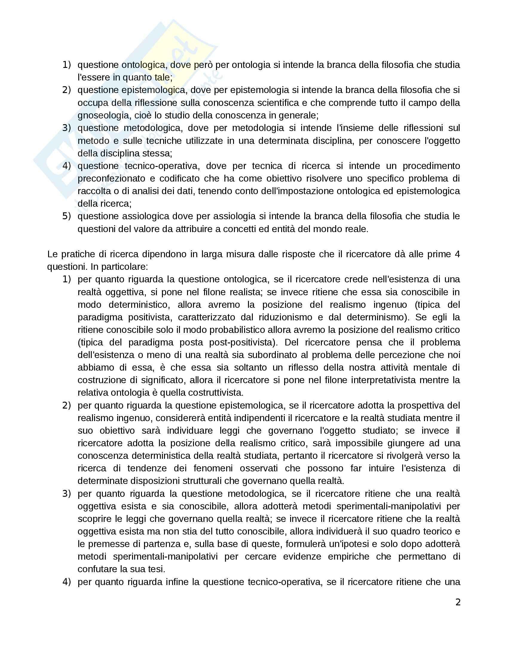 Riassunto esame Pedagogia sperimentale, prof. Di Gregorio, libro consigliato Manuale di ricerca educativa, Trinchero Pag. 2