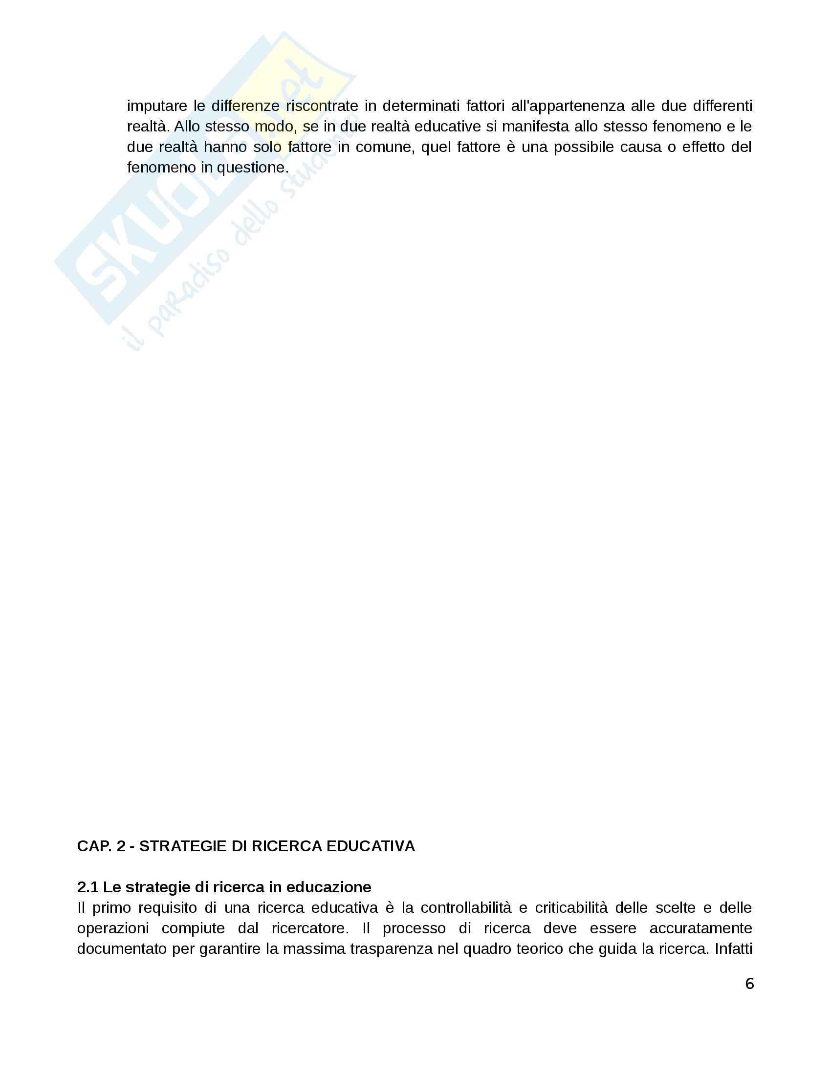 Riassunto esame Pedagogia sperimentale, prof. Di Gregorio, libro consigliato Manuale di ricerca educativa, Trinchero Pag. 6