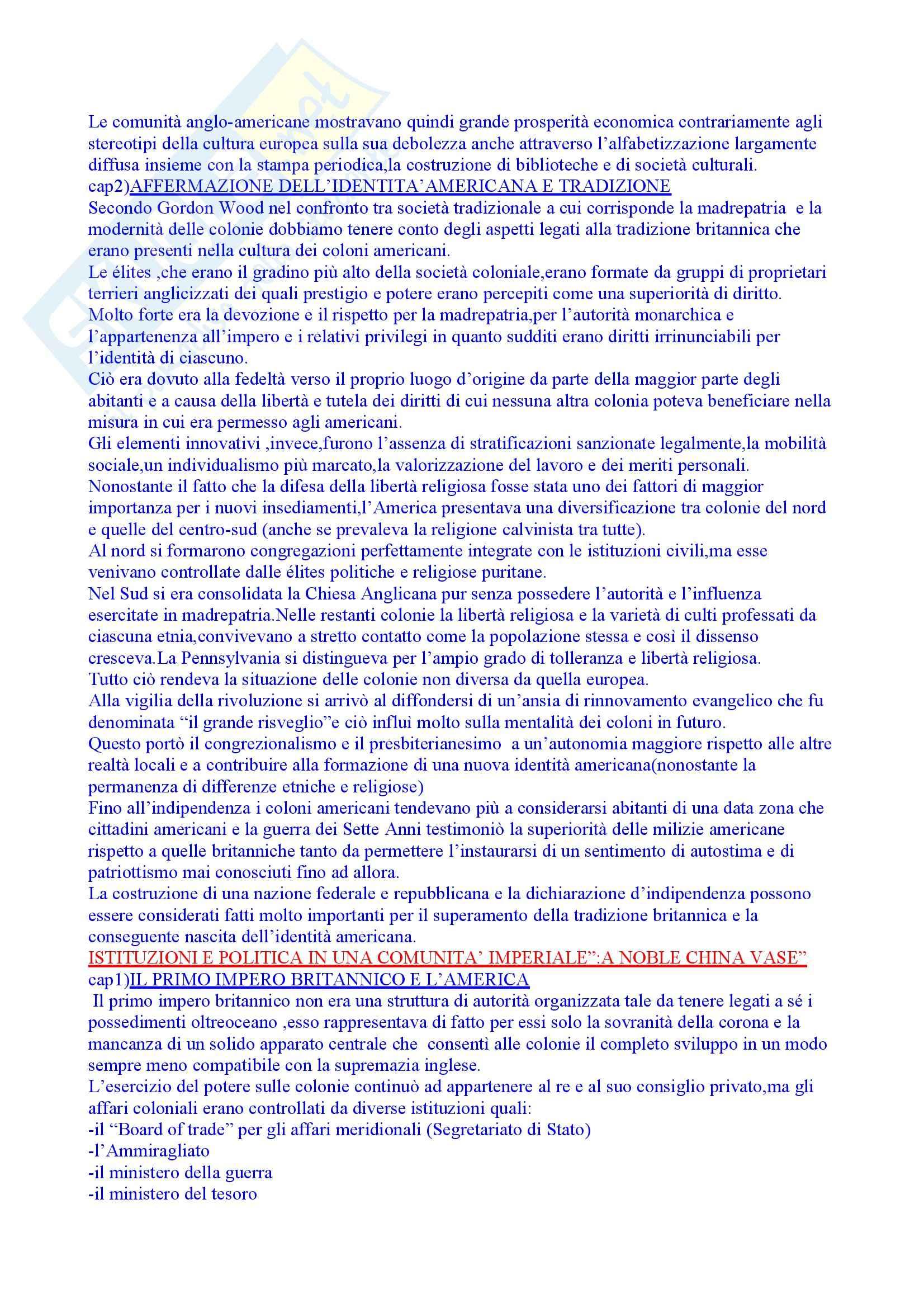 Riassunto esame Storia Moderna, prof. Roggero, libro consigliato Rivoluzione Americana, Abbattista Pag. 2