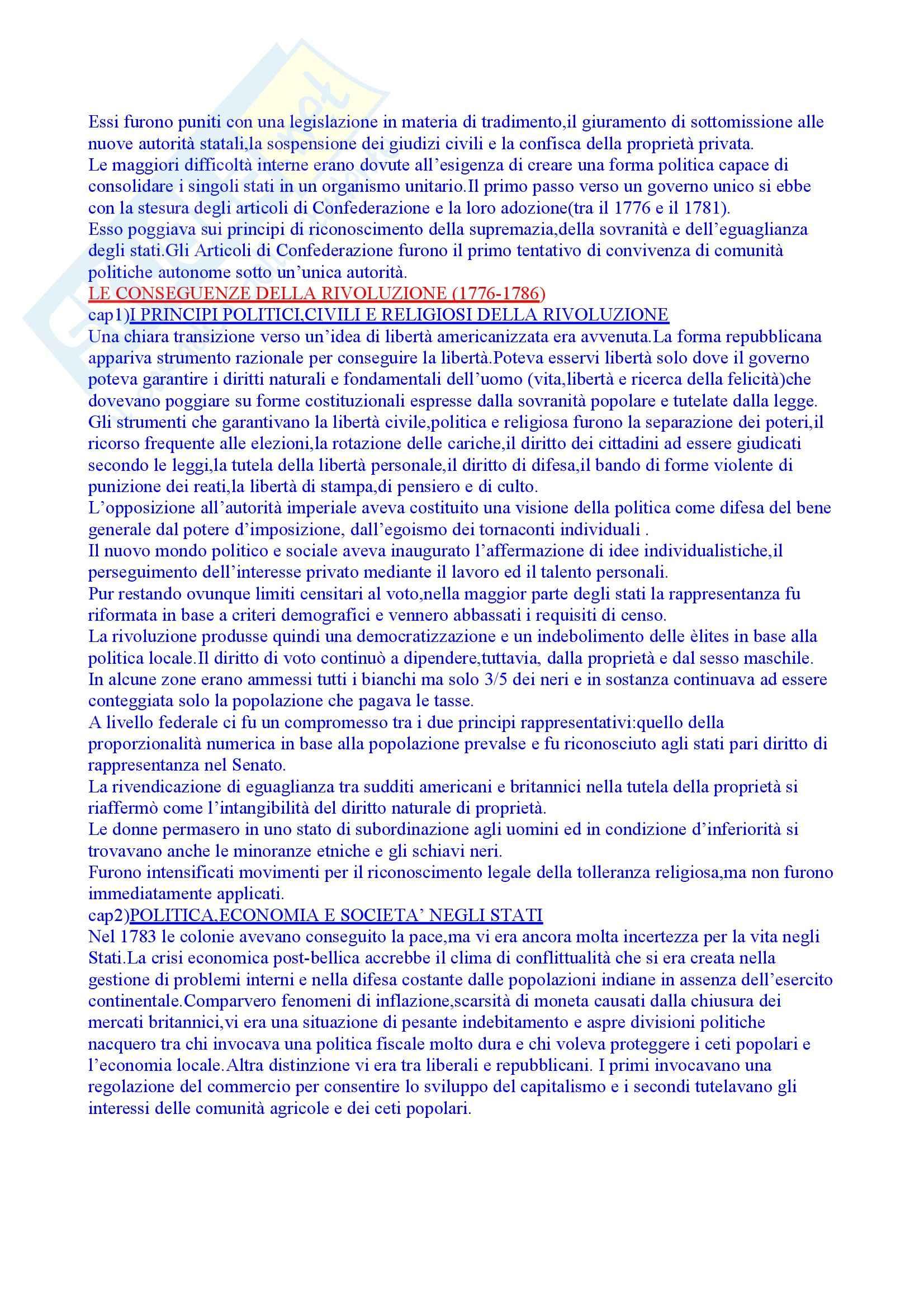 Riassunto esame Storia Moderna, prof. Roggero, libro consigliato Rivoluzione Americana, Abbattista Pag. 6