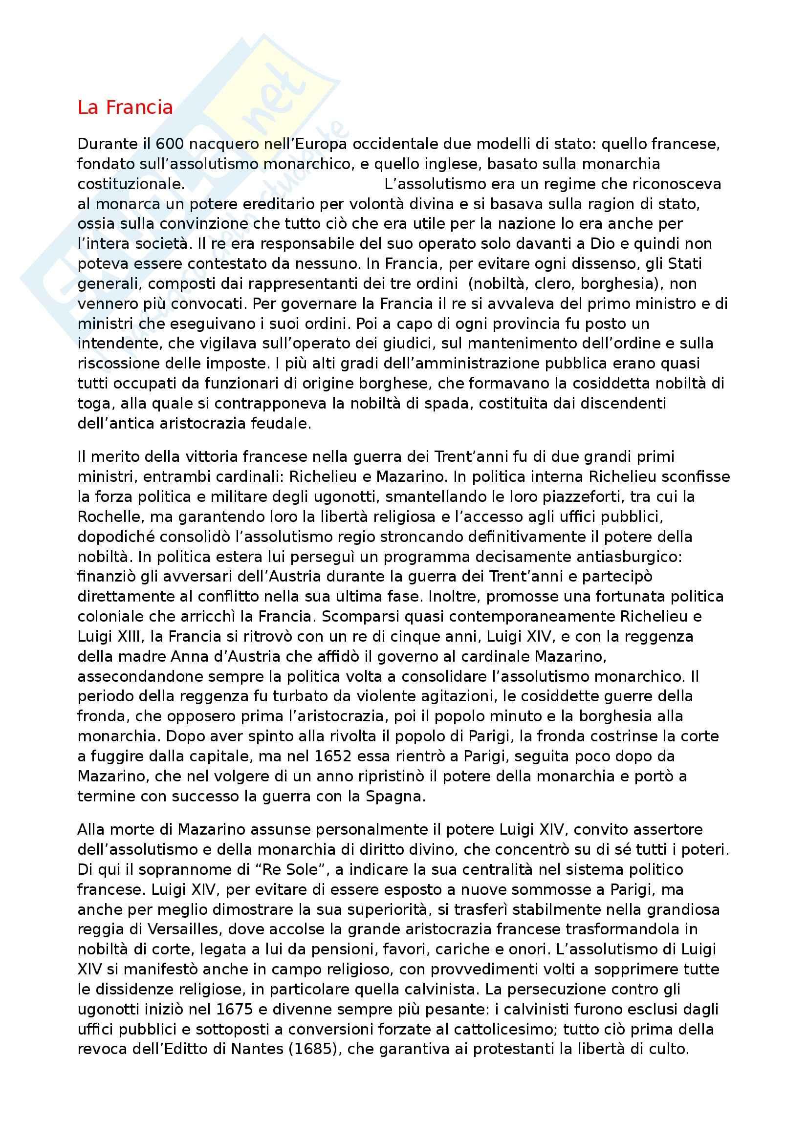appunto M. Miletti Storia moderna