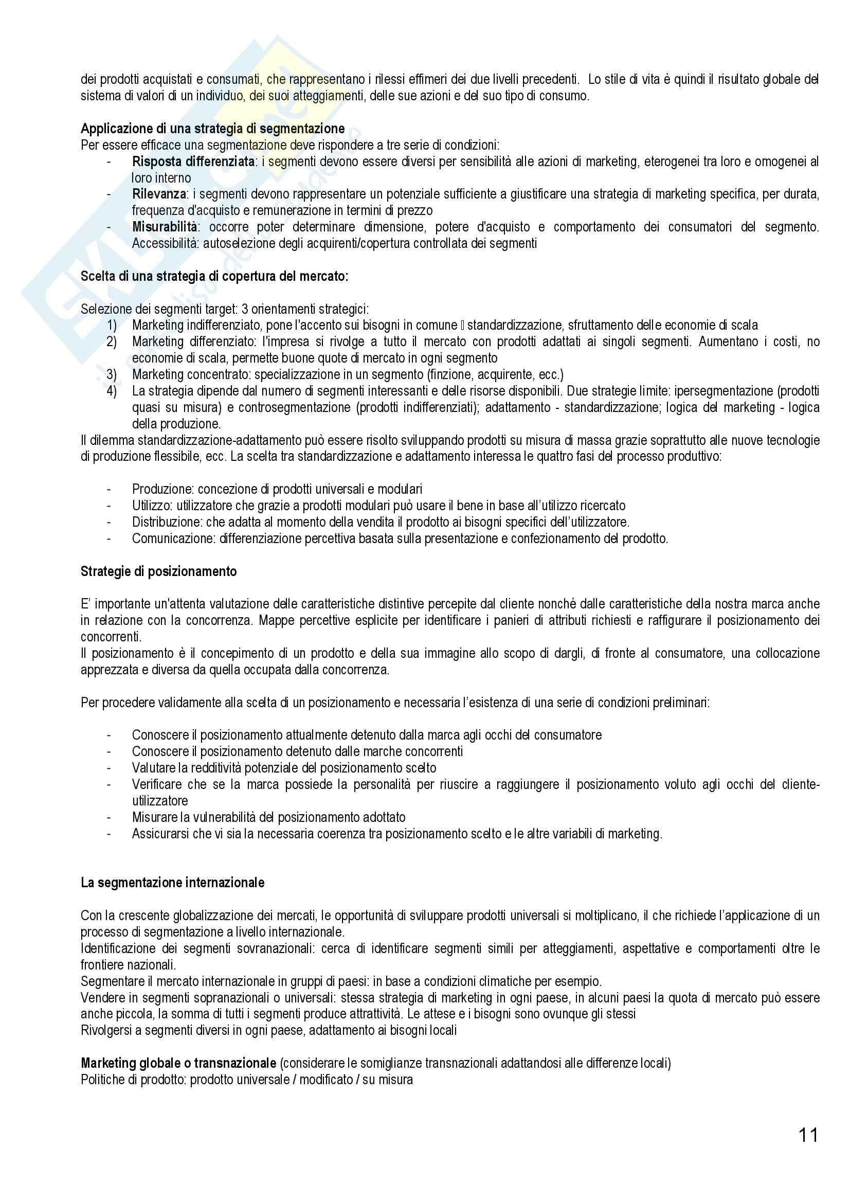 Riassunto esame Marketing e Strategie d'Impresa, prof. Cantone, libro consigliato Marketing Strategico e Operativo, Lambin Pag. 11