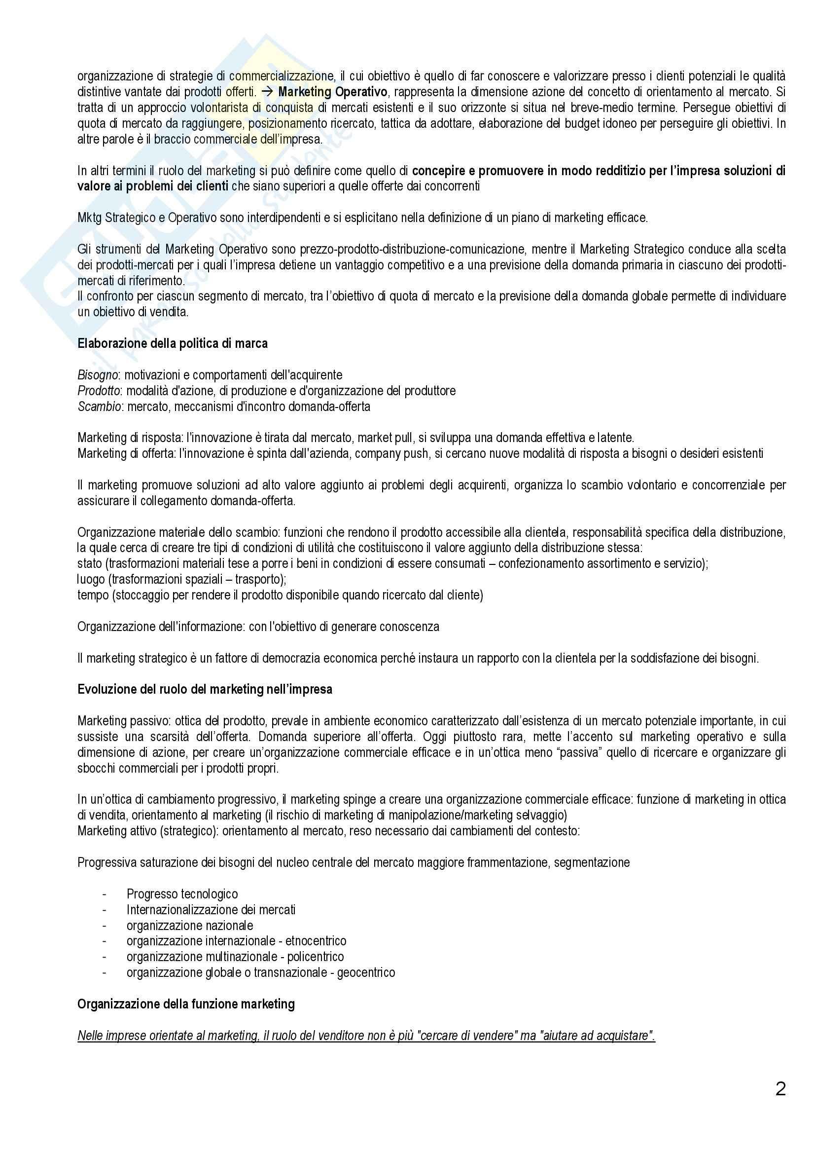 Riassunto esame Marketing e Strategie d'Impresa, prof. Cantone, libro consigliato Marketing Strategico e Operativo, Lambin Pag. 2