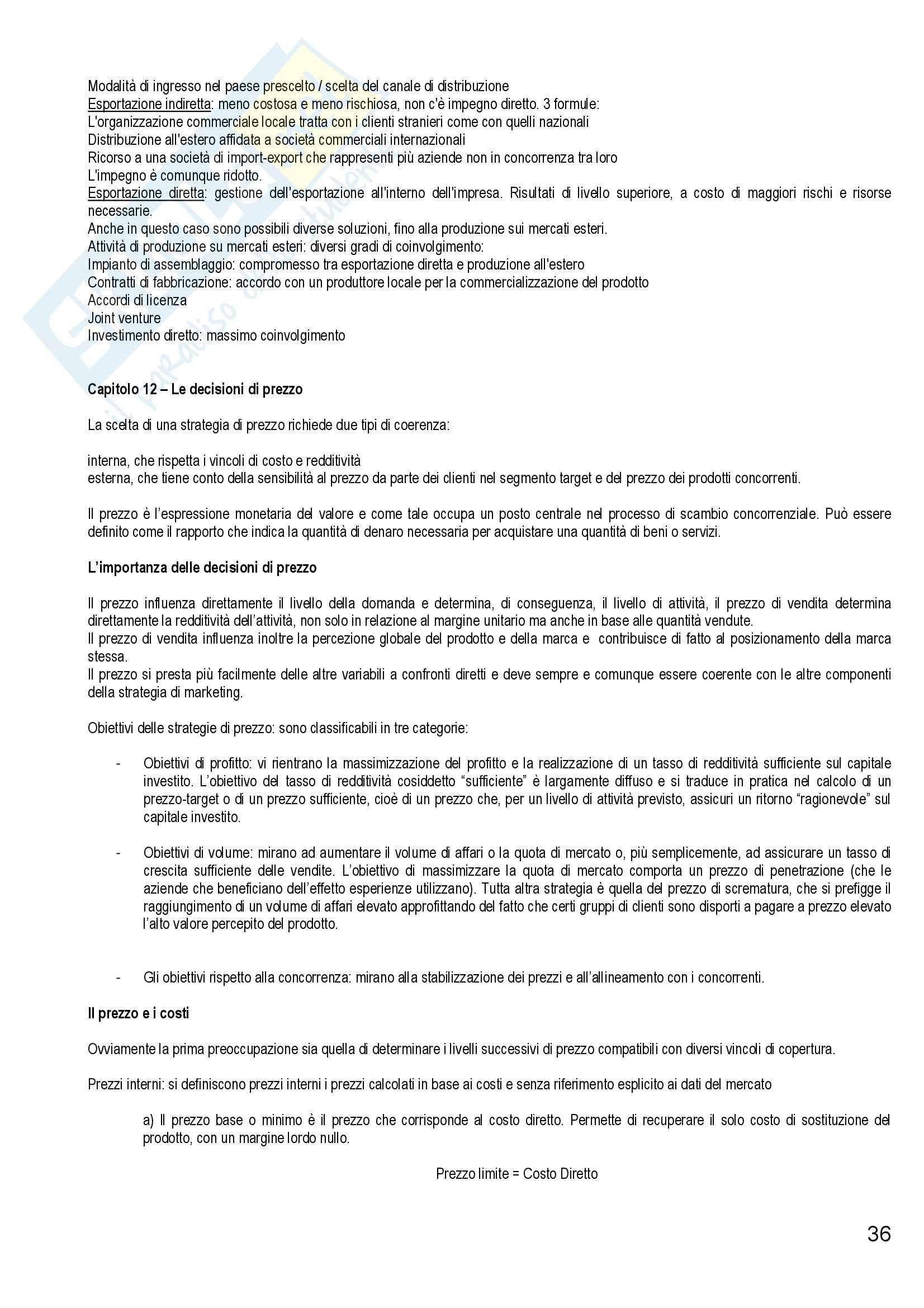 Riassunto esame Marketing e Strategie d'Impresa, prof. Cantone, libro consigliato Marketing Strategico e Operativo, Lambin Pag. 36