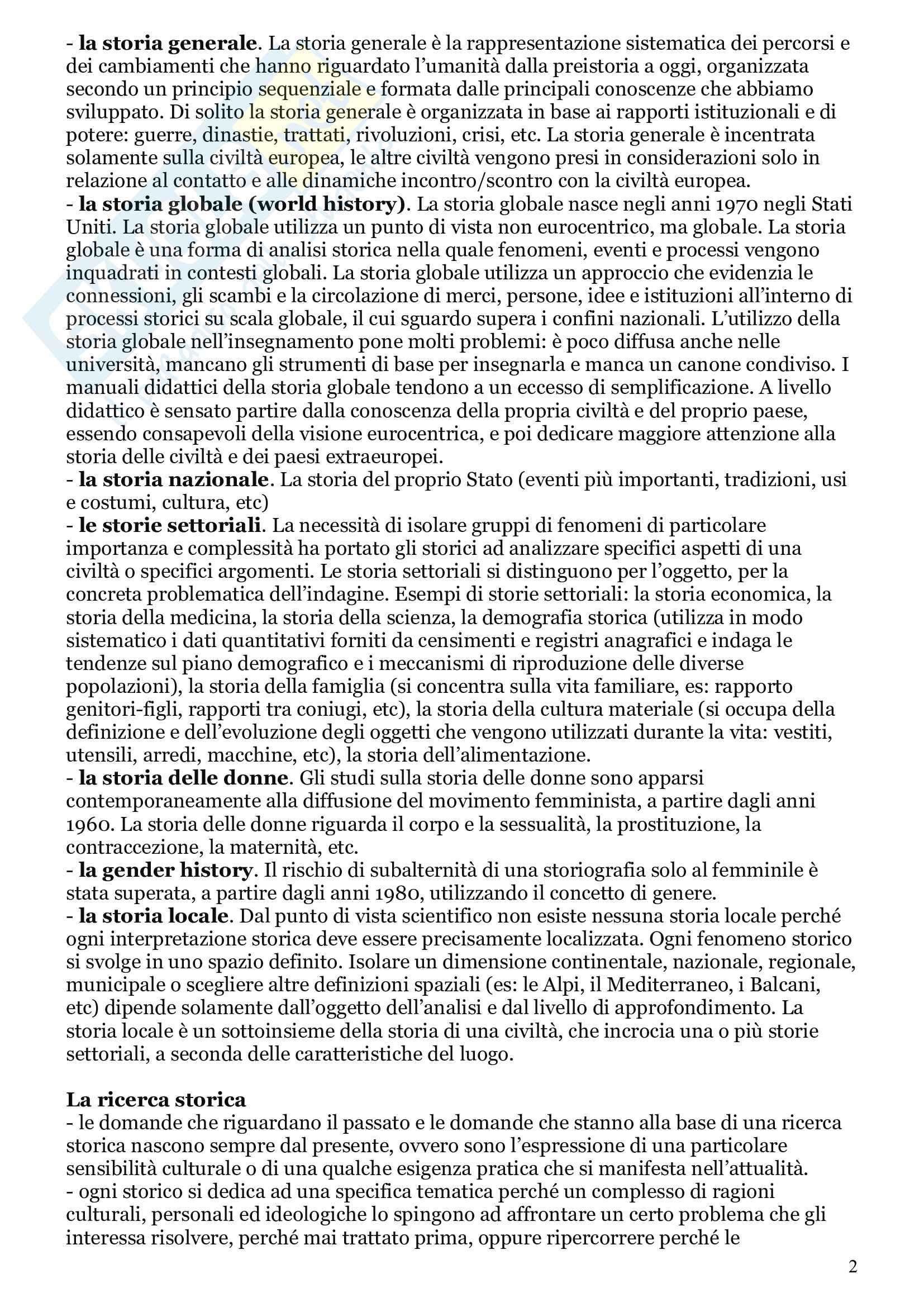 Riassunto esame Storia, prof. Baviello, libro consigliato Insegnare storia nella scuola primaria e dell'infanzia, Panciera Pag. 2