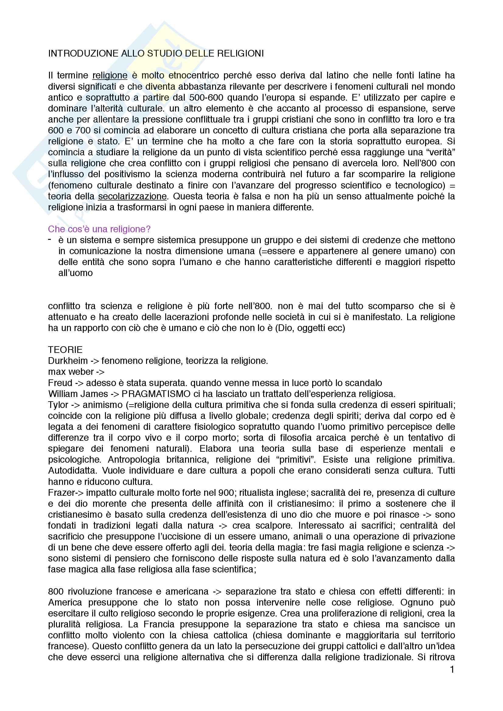 Appunti introduzione allo studio delle religioni, prof. Cristiana Facchini Pag. 1