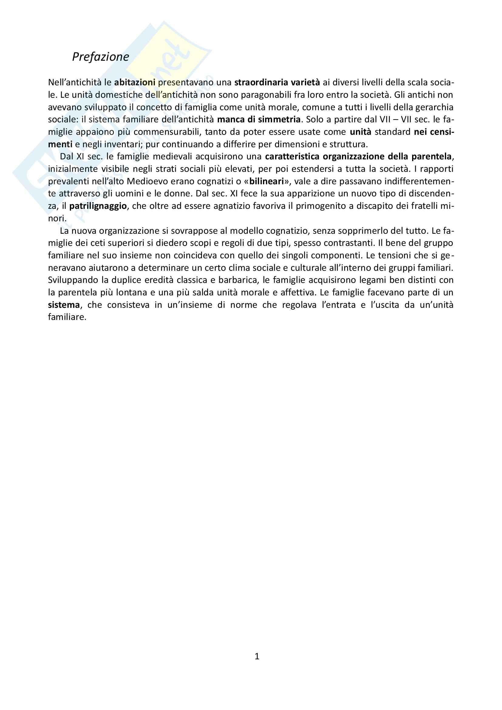 Riassunto esame Storia, prof. Grillo, libro consigliato La famiglia nel Medioevo, Herlihy