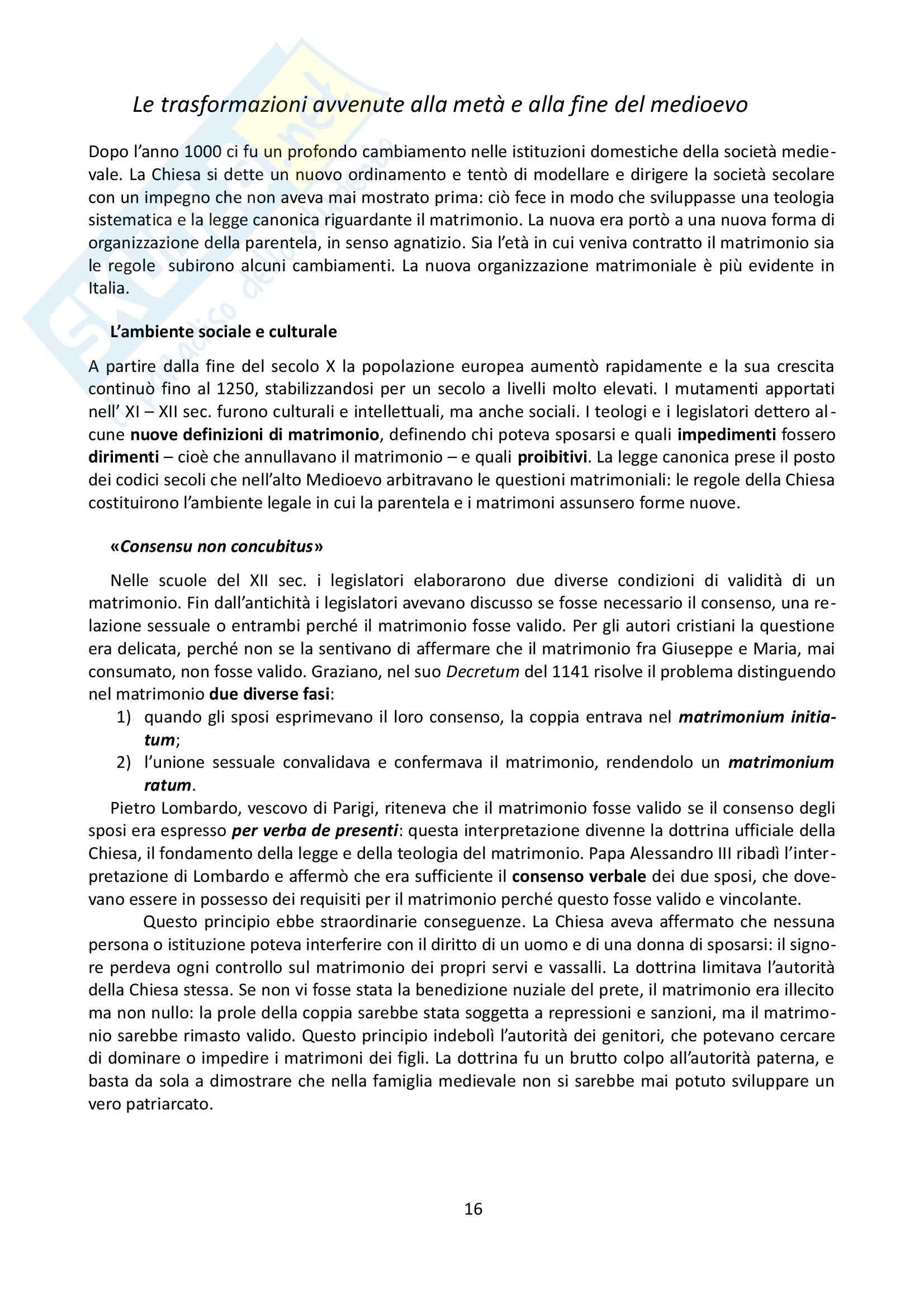 Riassunto esame Storia, prof. Grillo, libro consigliato La famiglia nel Medioevo, Herlihy Pag. 16