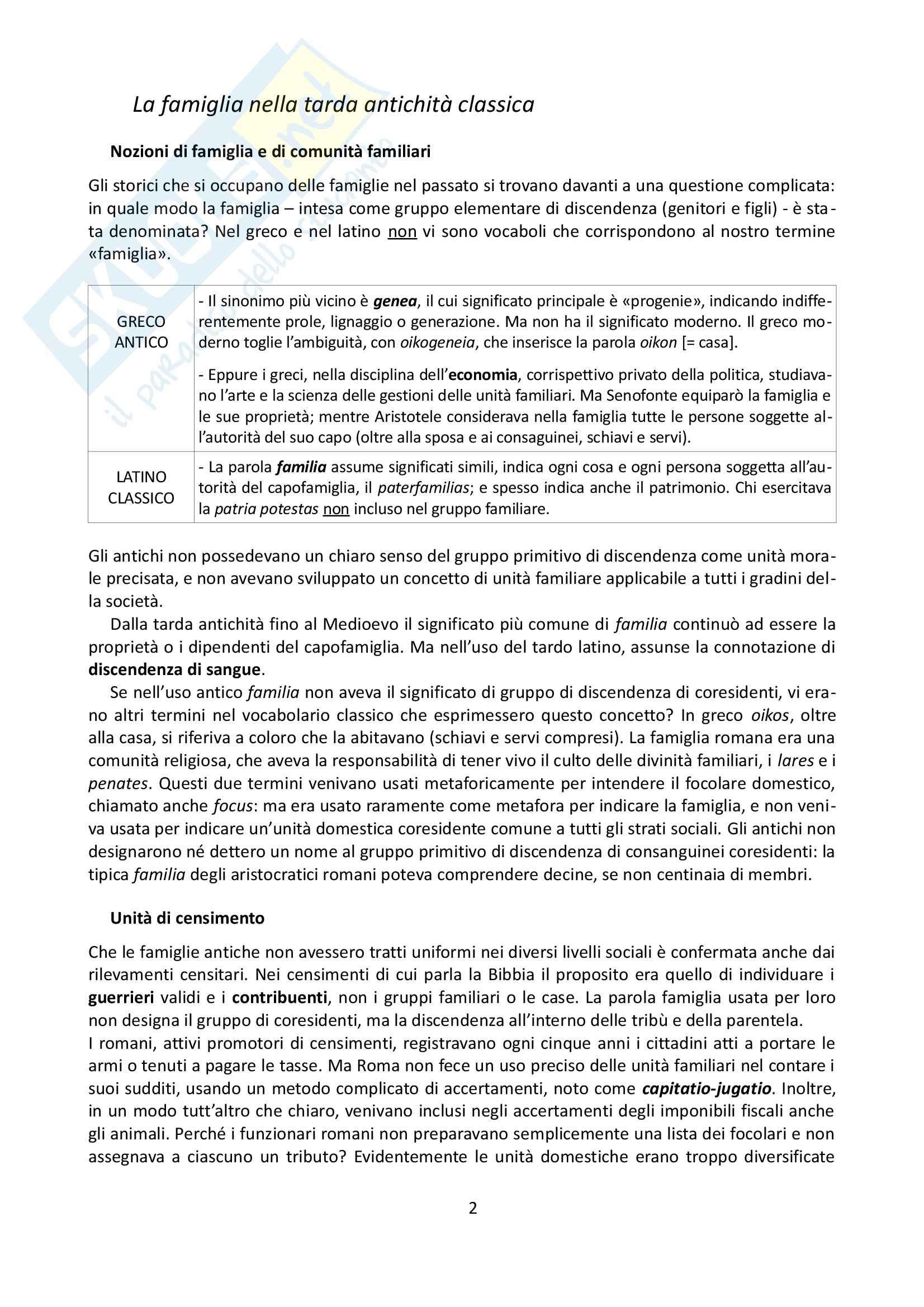Riassunto esame Storia, prof. Grillo, libro consigliato La famiglia nel Medioevo, Herlihy Pag. 2