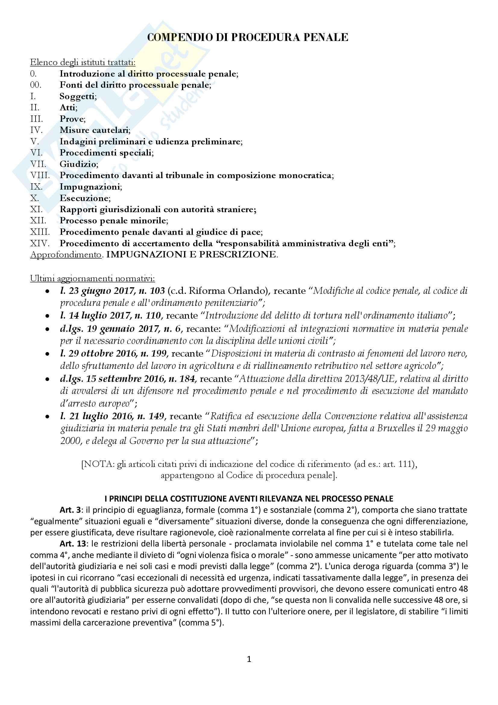 Riassunto esame Diritto Processuale Penale, prof. Illuminati, libro consigliato Compendio di Procedura penale, Conso-Grevi