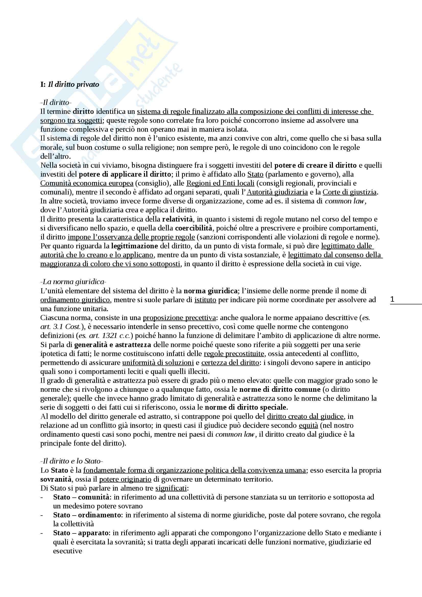 Riassunto esame Diritto privato, prof. Zaccheo, libro consigliato Diritto privato, Galgano