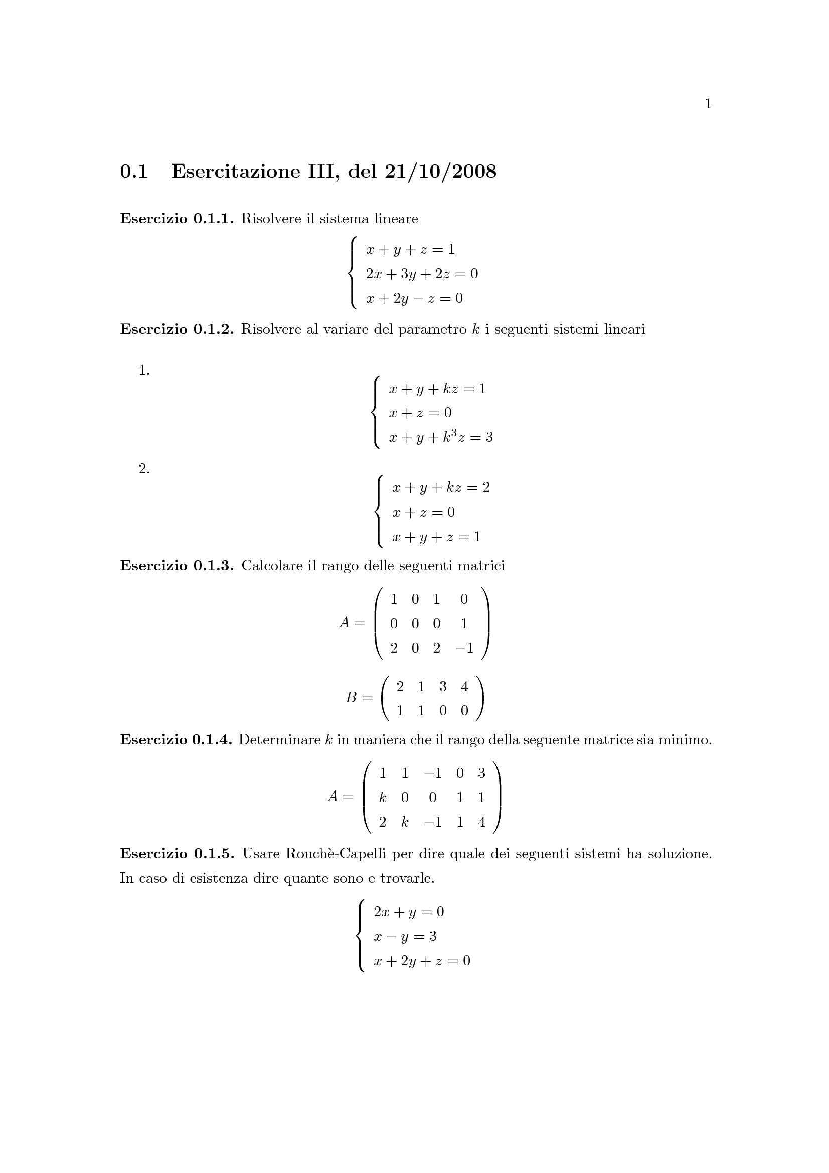 Matematica Generale - Sistema lineare, Cramer, Rouché-Capelli