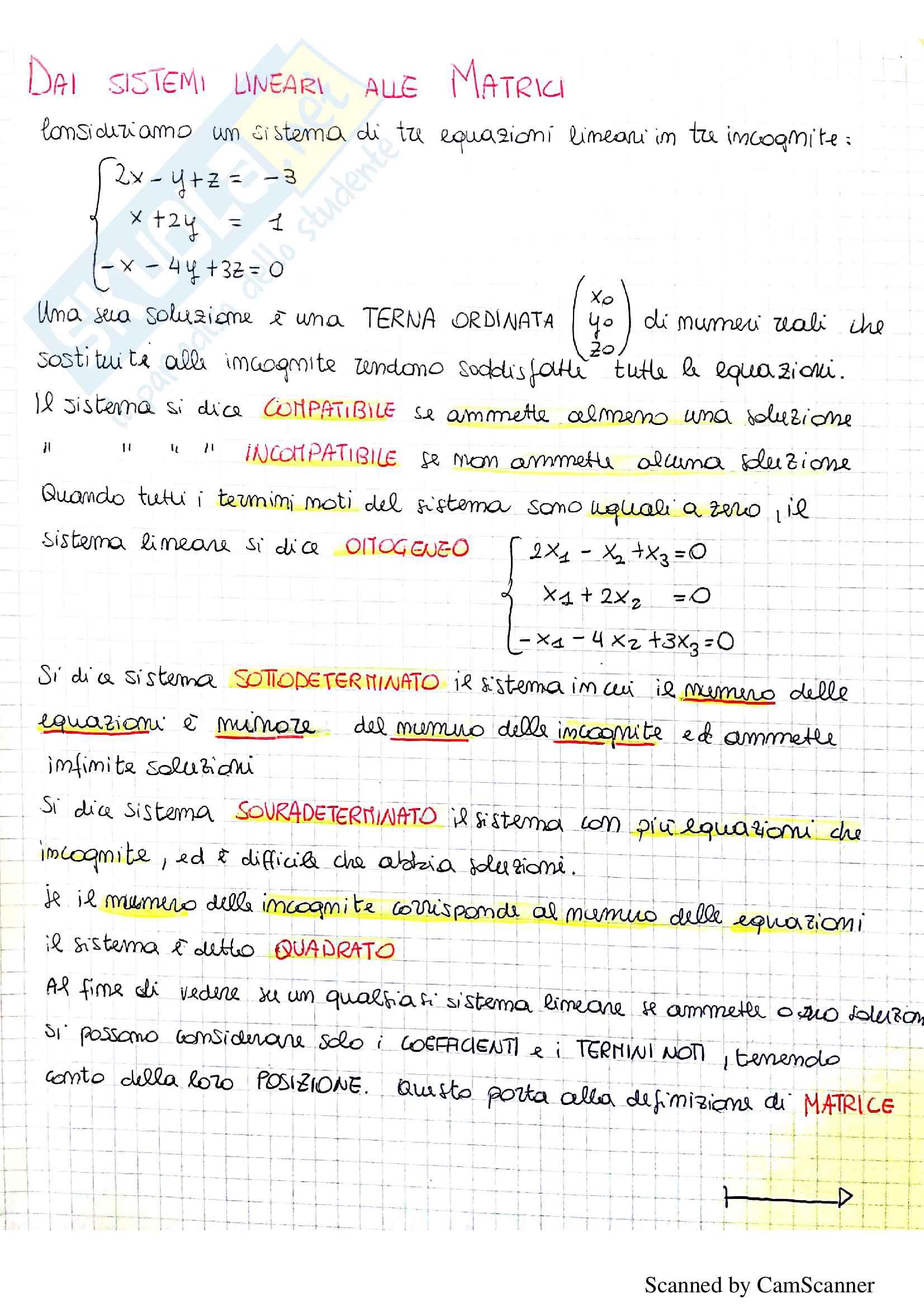 Quaderno Algebra lineare
