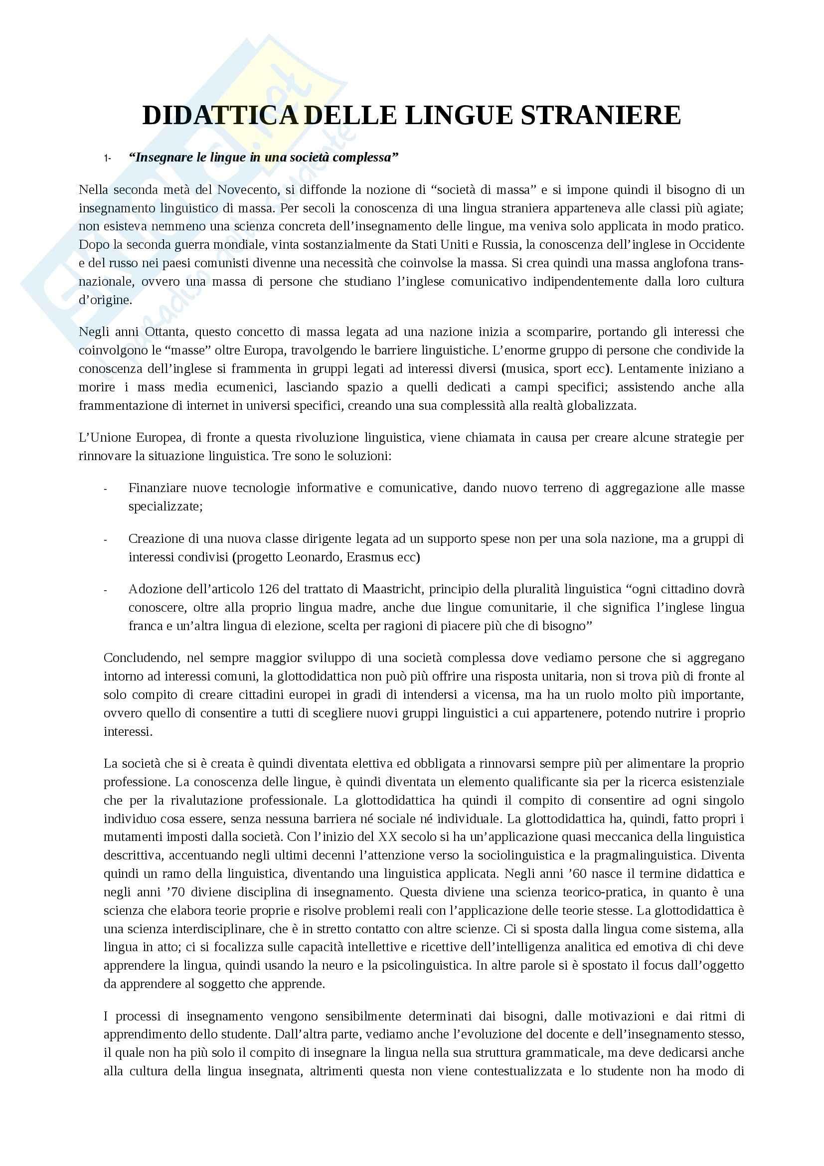 Glottodidattica - Didattica delle lingue straniere
