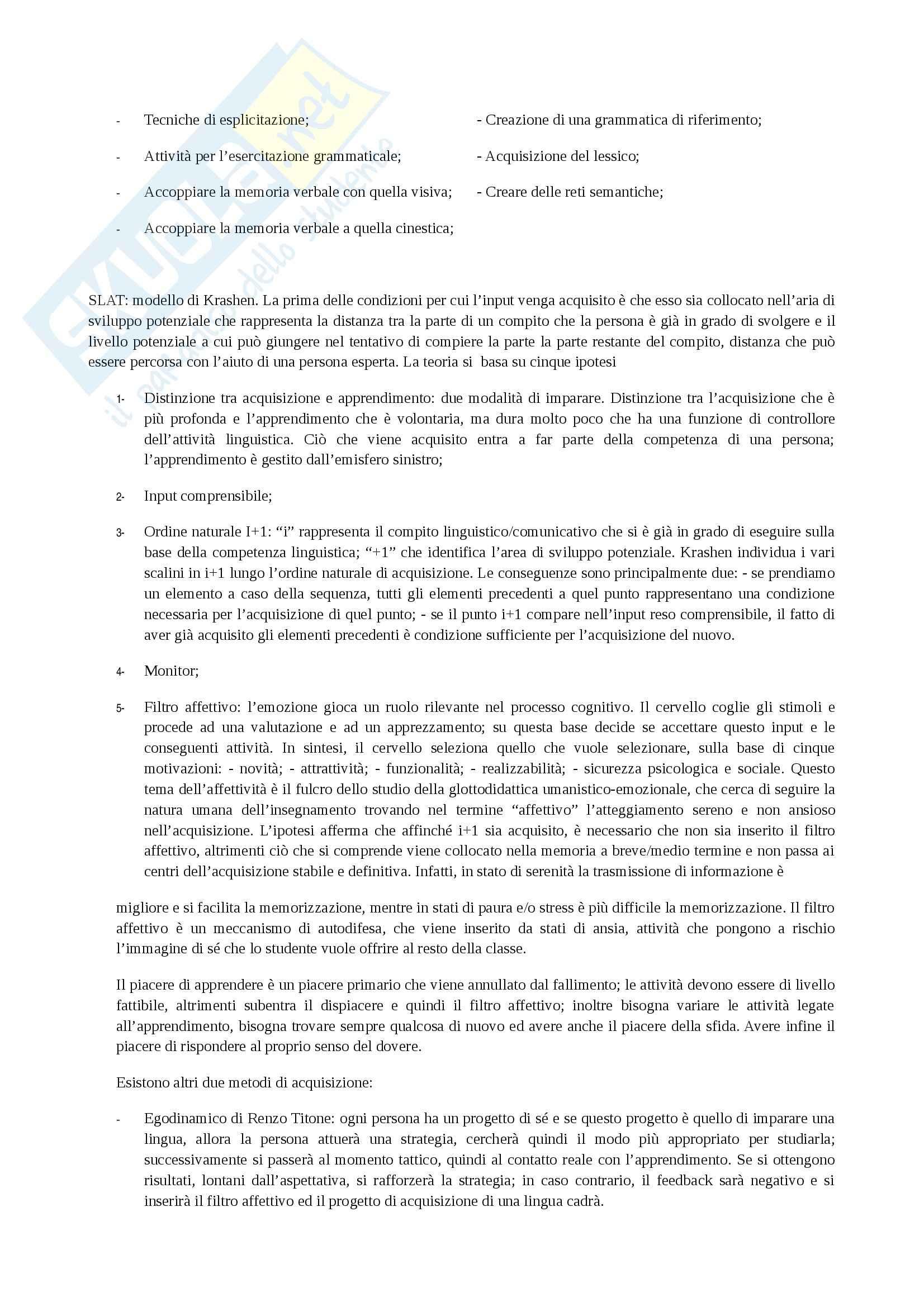 Glottodidattica - Didattica delle lingue straniere Pag. 6