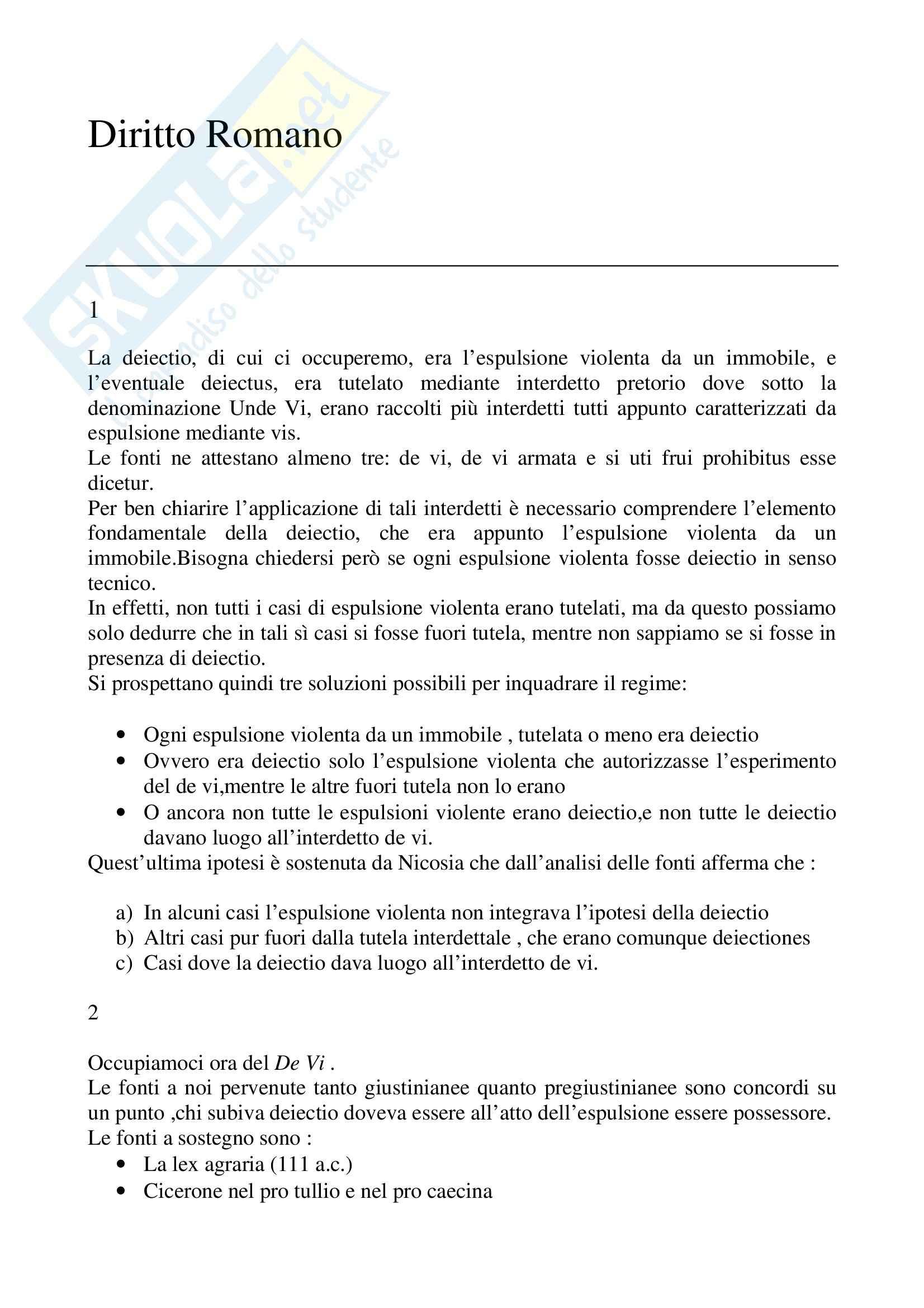 Riassunto esame Istituzioni di diritto romano, prof. La Rosa, libro consigliato Problemi possessori nell'esperienza giuridica romana, Nicosia