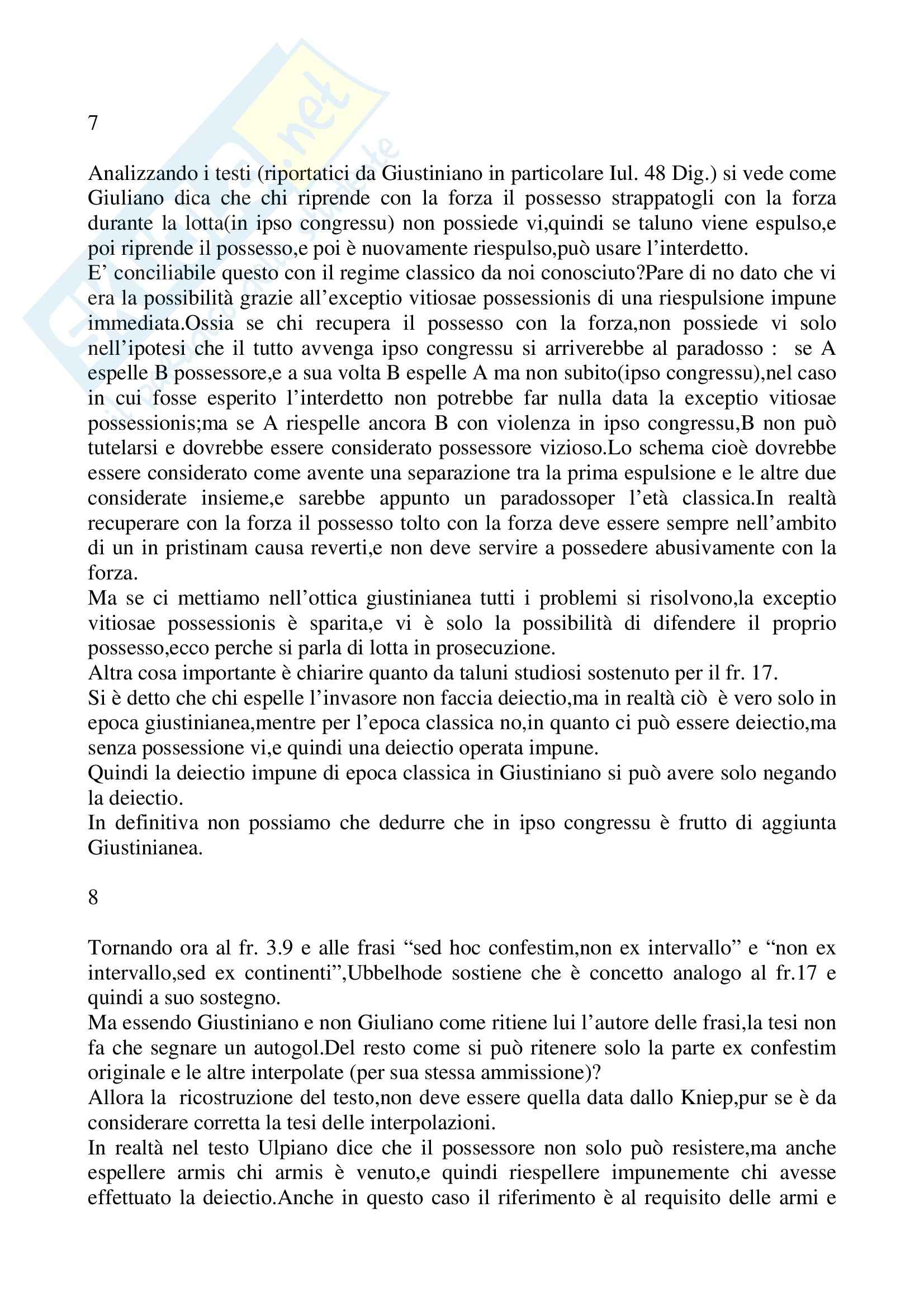 Riassunto esame Istituzioni di diritto romano, prof. La Rosa, libro consigliato Problemi possessori nell'esperienza giuridica romana, Nicosia Pag. 6