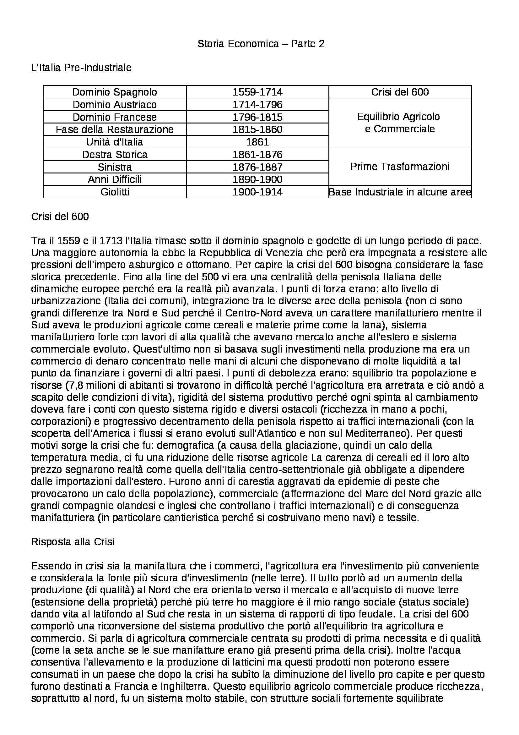 Riassunto esame Storia Economia - parte seconda, prof. Carera