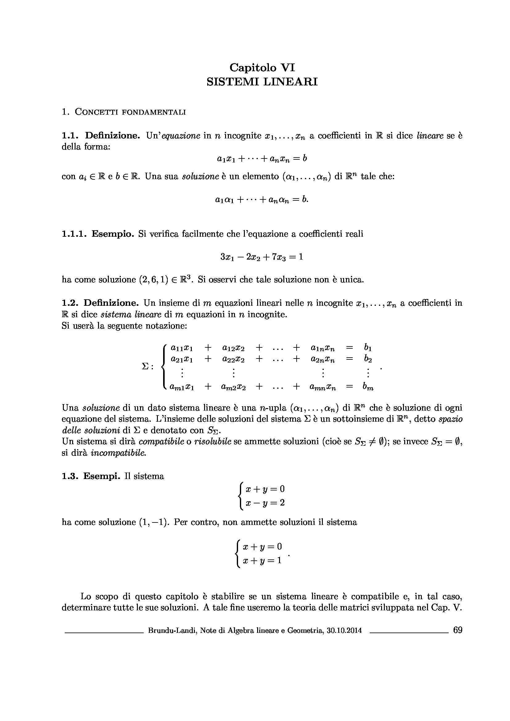 Dispensa di Matematica - Sistemi lineari