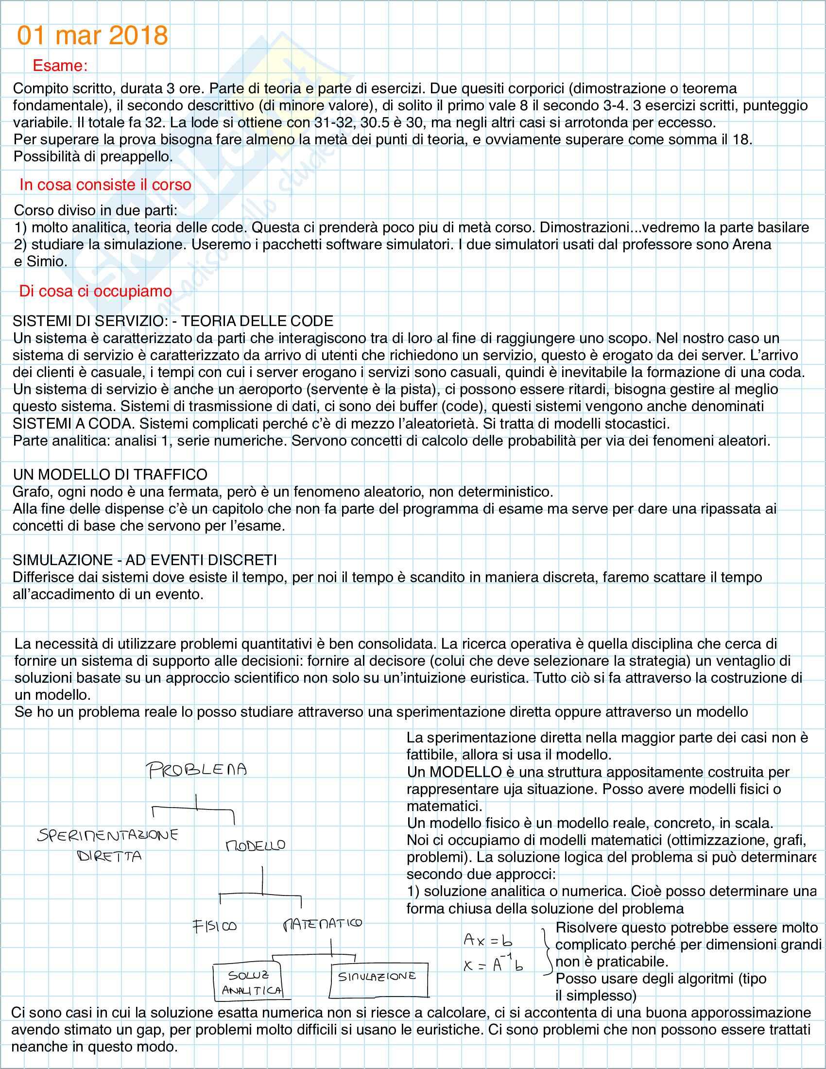 Appunti del corso Sistemi di servizio e simulazione Massimo Roma