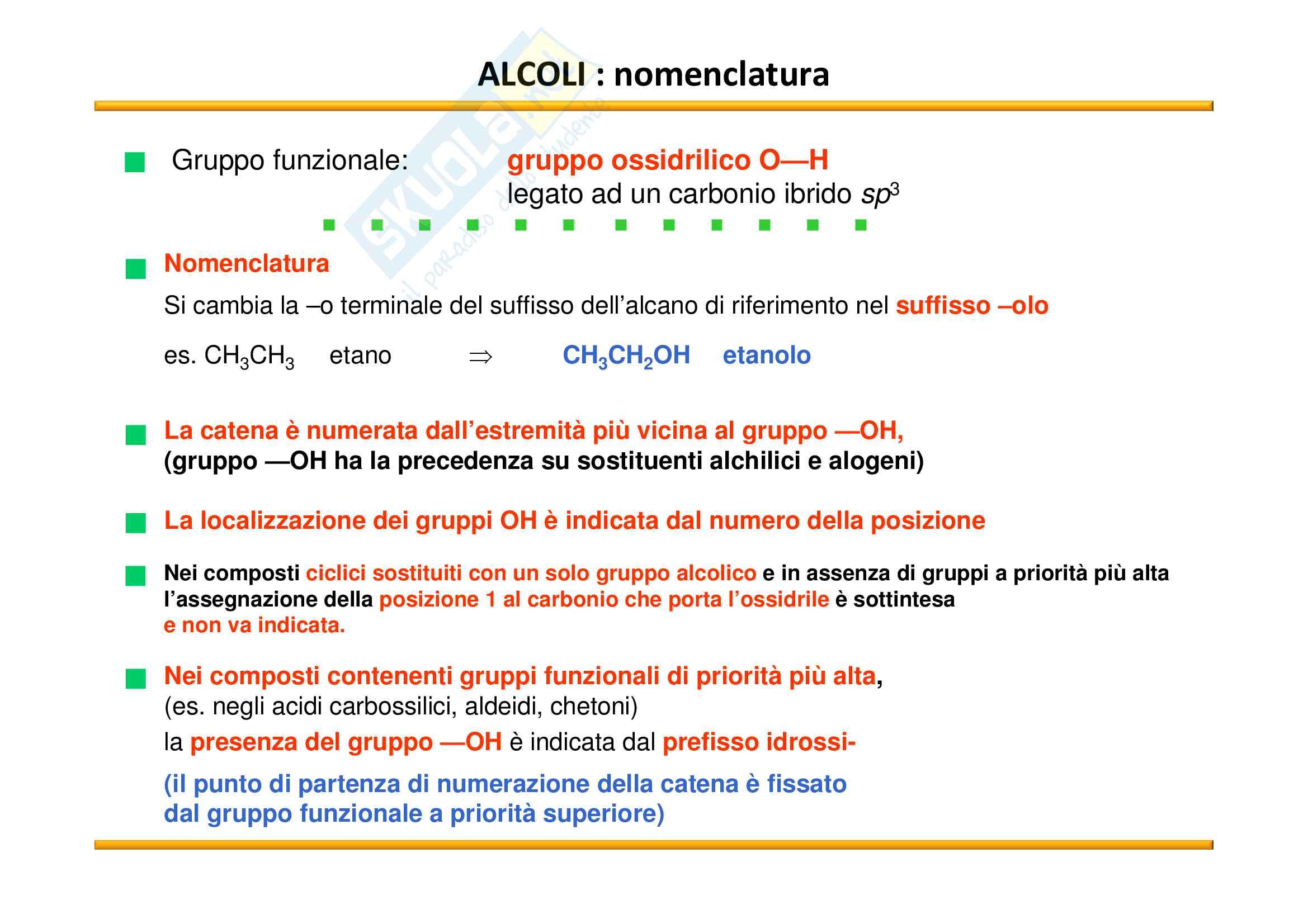 Chimica Organica: Alcoli