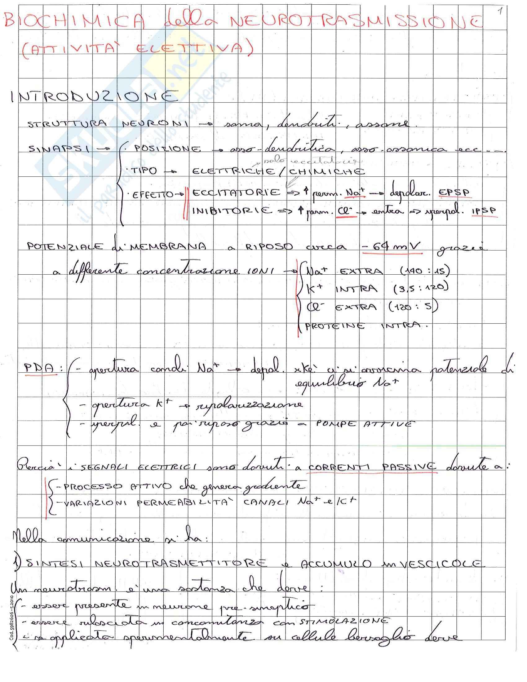 Lezioni, Biochimica fisiologica e patologica