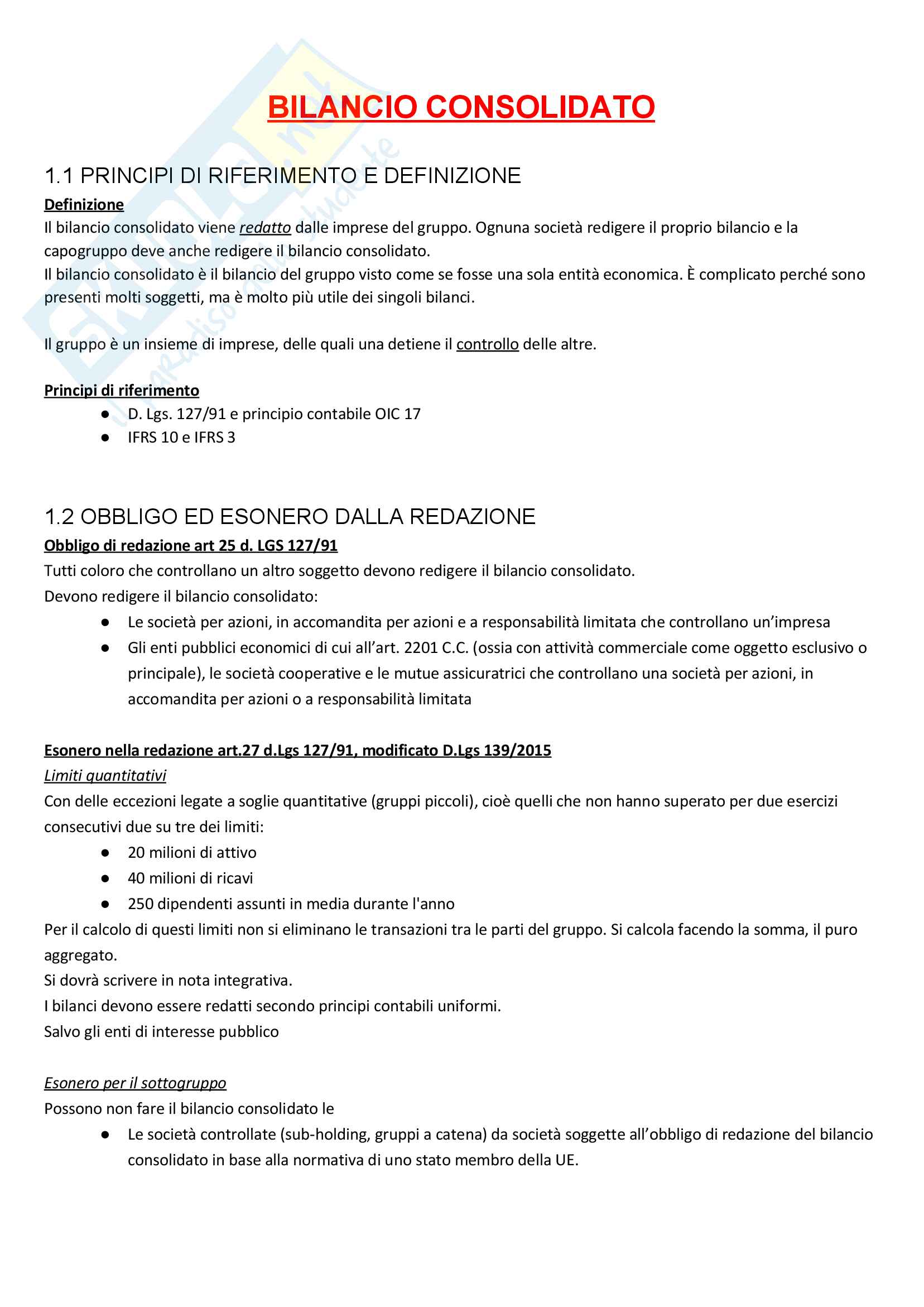 Apppunti di Metodologie 2 (bilancio consolidato e analisi di bilancio) + temi d'esame svolti