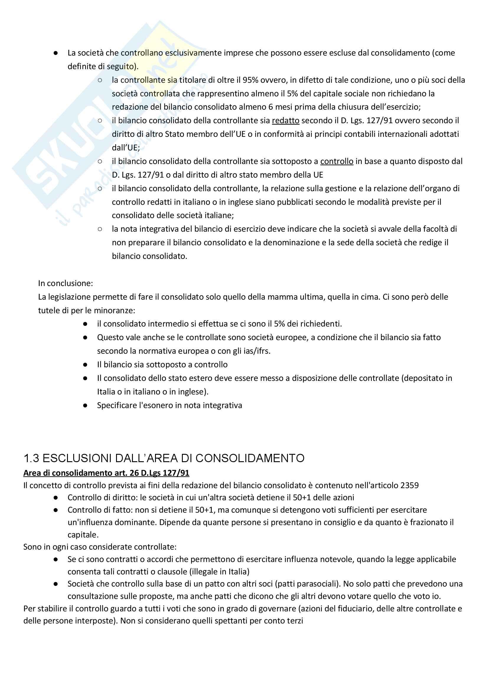 Apppunti di Metodologie 2 (bilancio consolidato e analisi di bilancio) + temi d'esame svolti Pag. 2