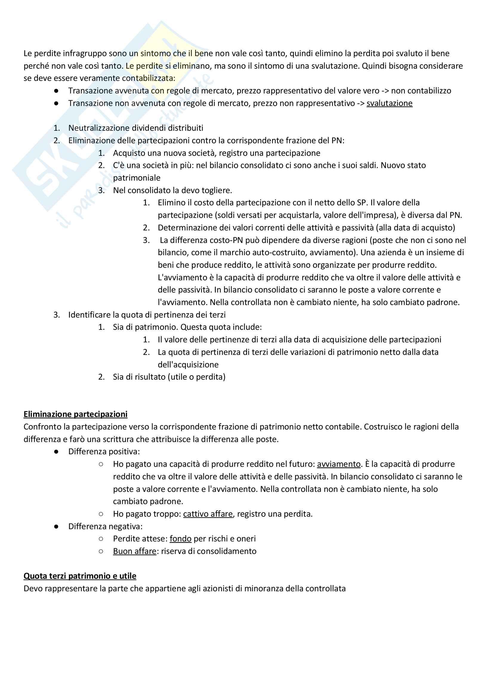 Apppunti di Metodologie 2 (bilancio consolidato e analisi di bilancio) + temi d'esame svolti Pag. 6