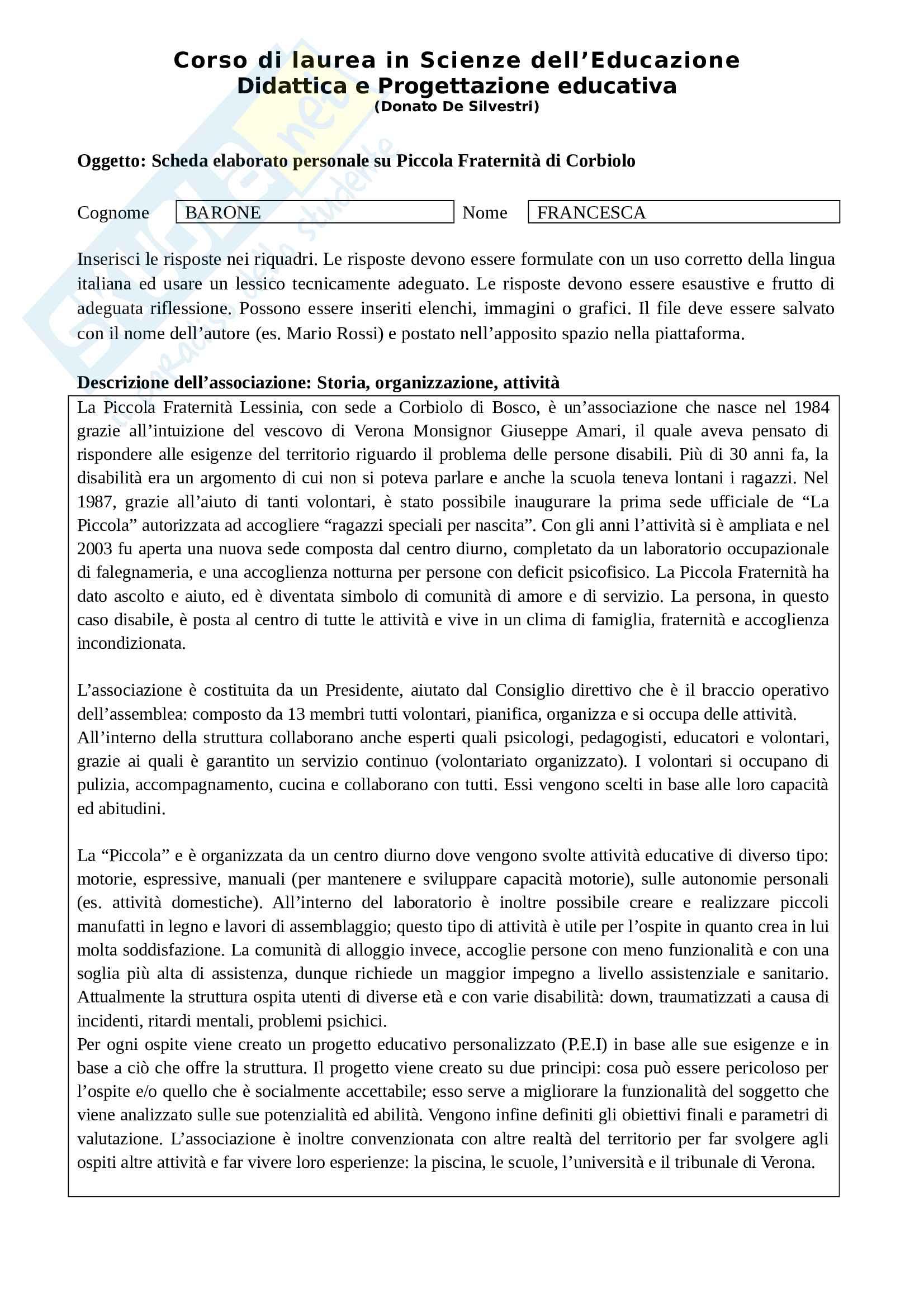 Esempio di Elaborato da scrivere richiesto agli studenti frequentanti, esame di Didattica e progettazione educativa, prof. De Silvestri