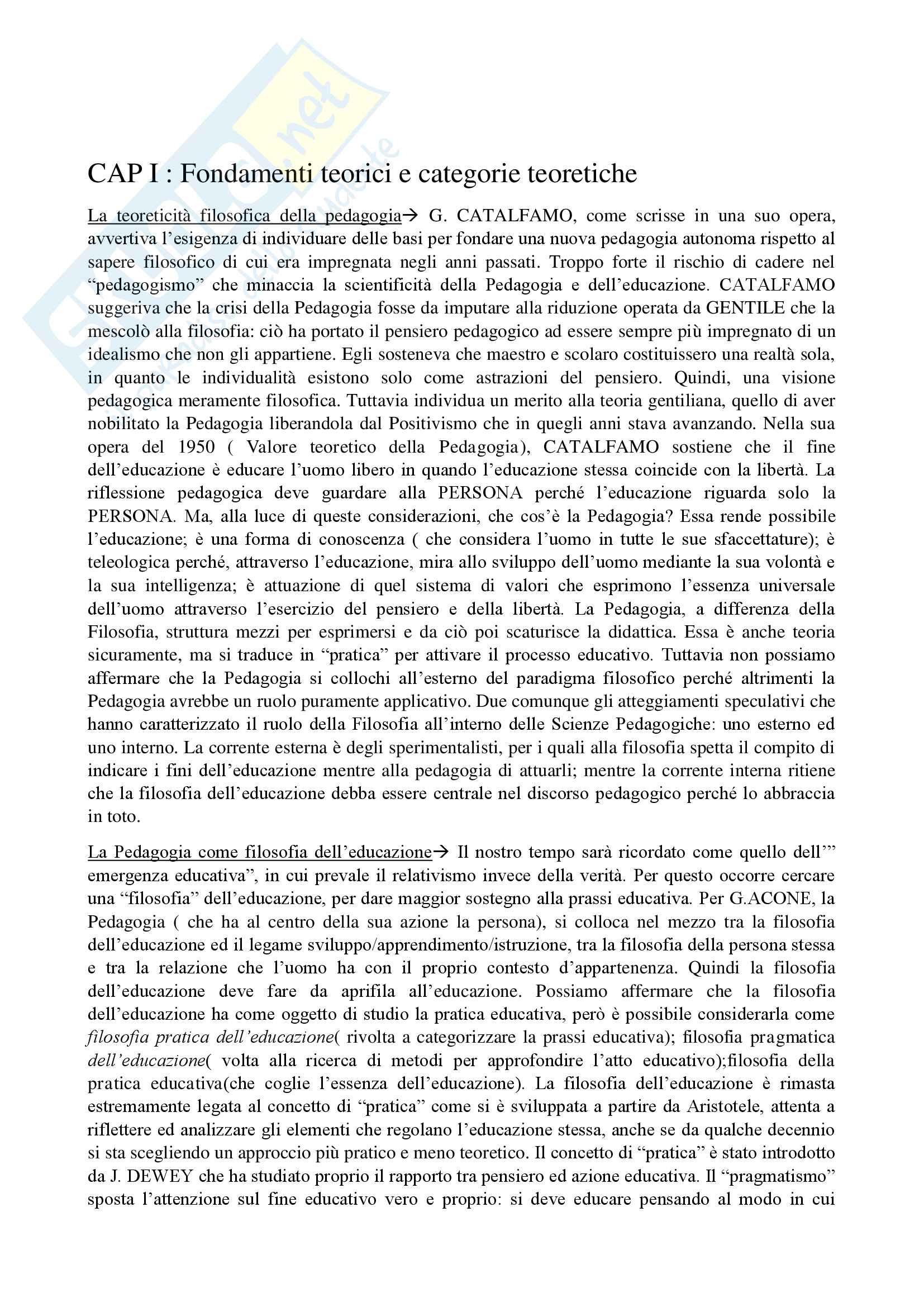 Appunti di pedagogia, testo consigliato Manuale di Pedagogia:Temi e ambiti di ricerca e prassi educativa