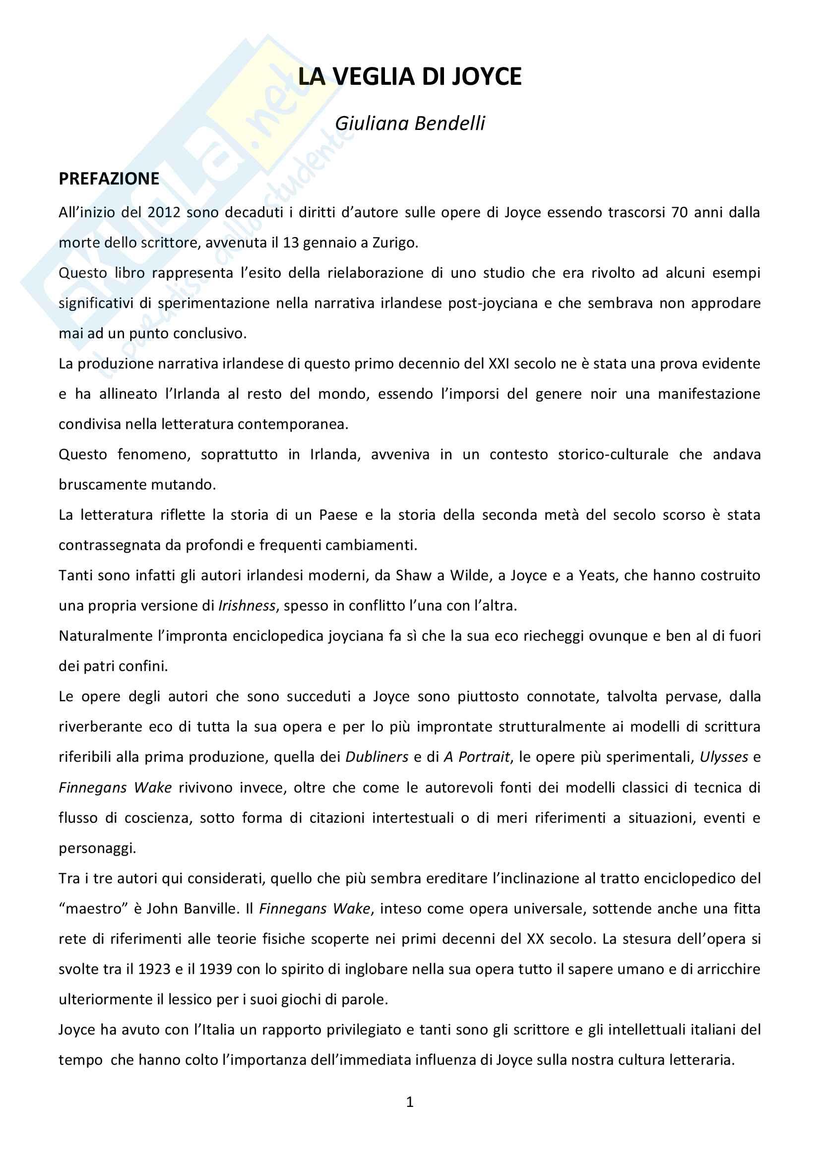 Riassunto esame Letteratura inglese, prof. Bendelli, libro consigliato La Veglia di Joyce