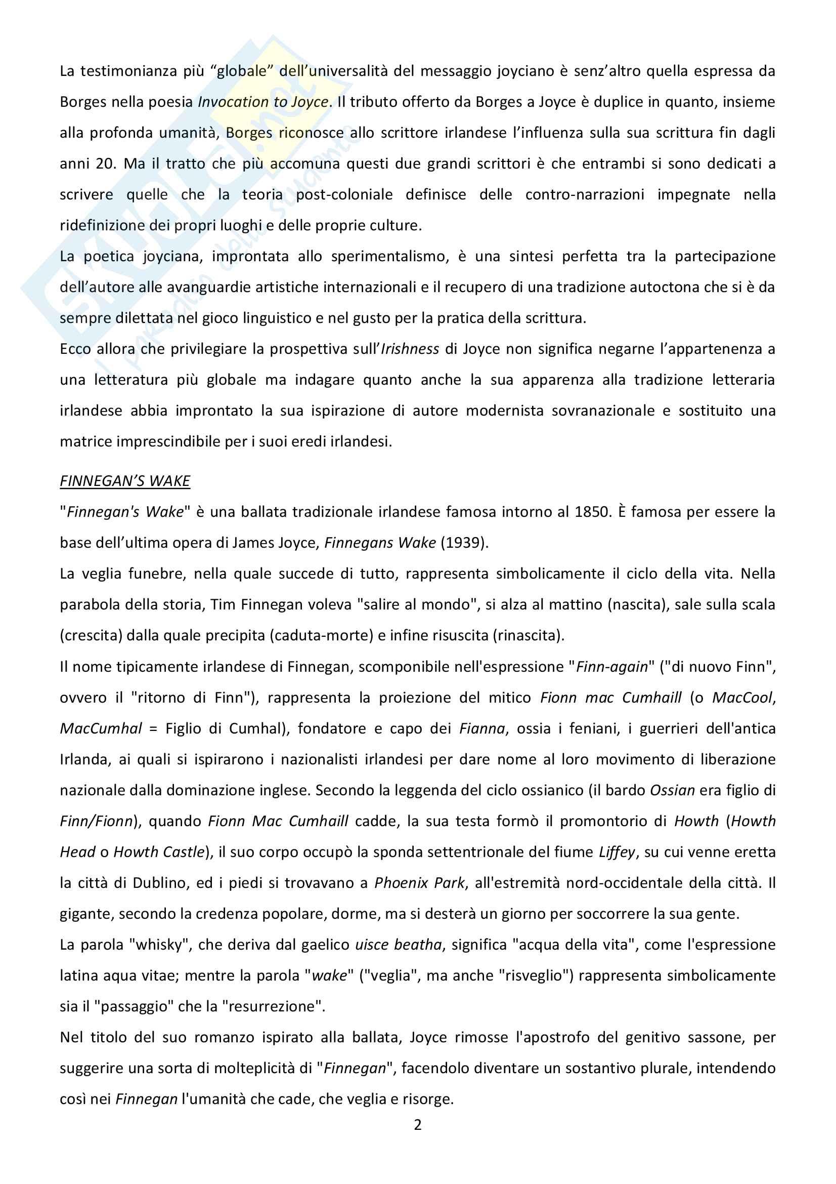 Riassunto esame Letteratura inglese, prof. Bendelli, libro consigliato La Veglia di Joyce Pag. 2