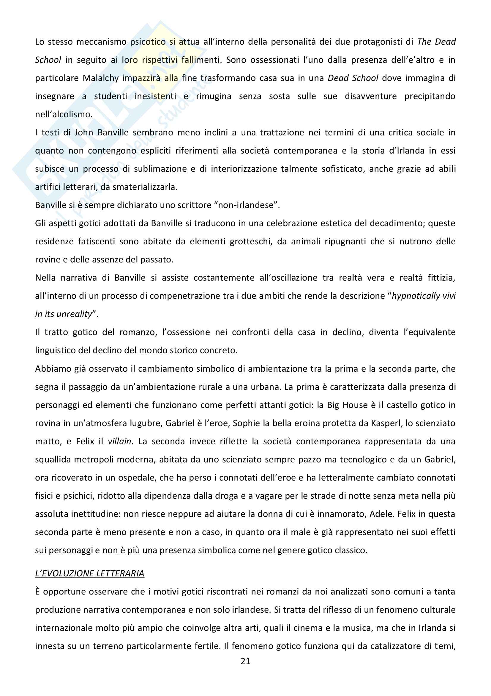 Riassunto esame Letteratura inglese, prof. Bendelli, libro consigliato La Veglia di Joyce Pag. 21