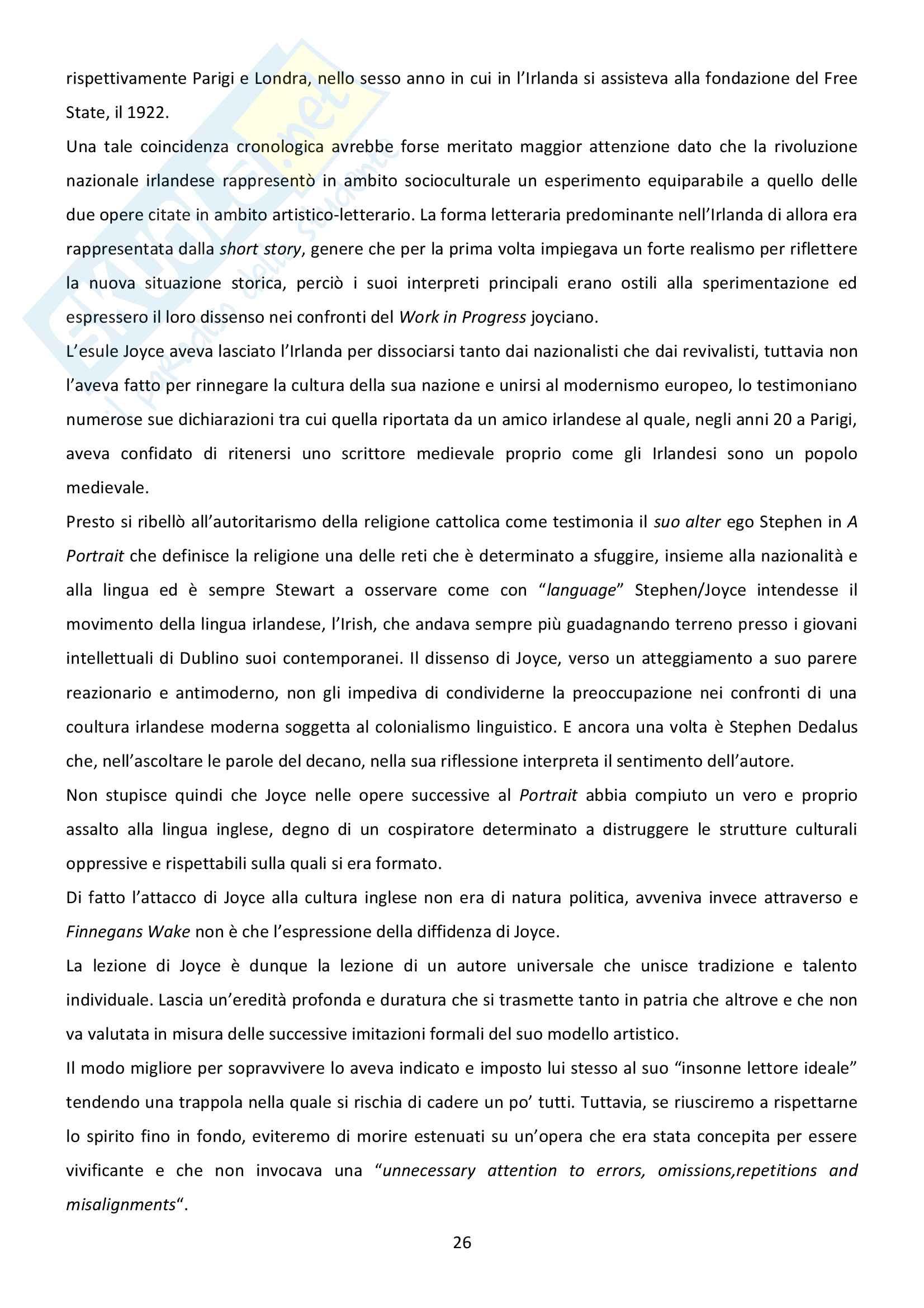 Riassunto esame Letteratura inglese, prof. Bendelli, libro consigliato La Veglia di Joyce Pag. 26