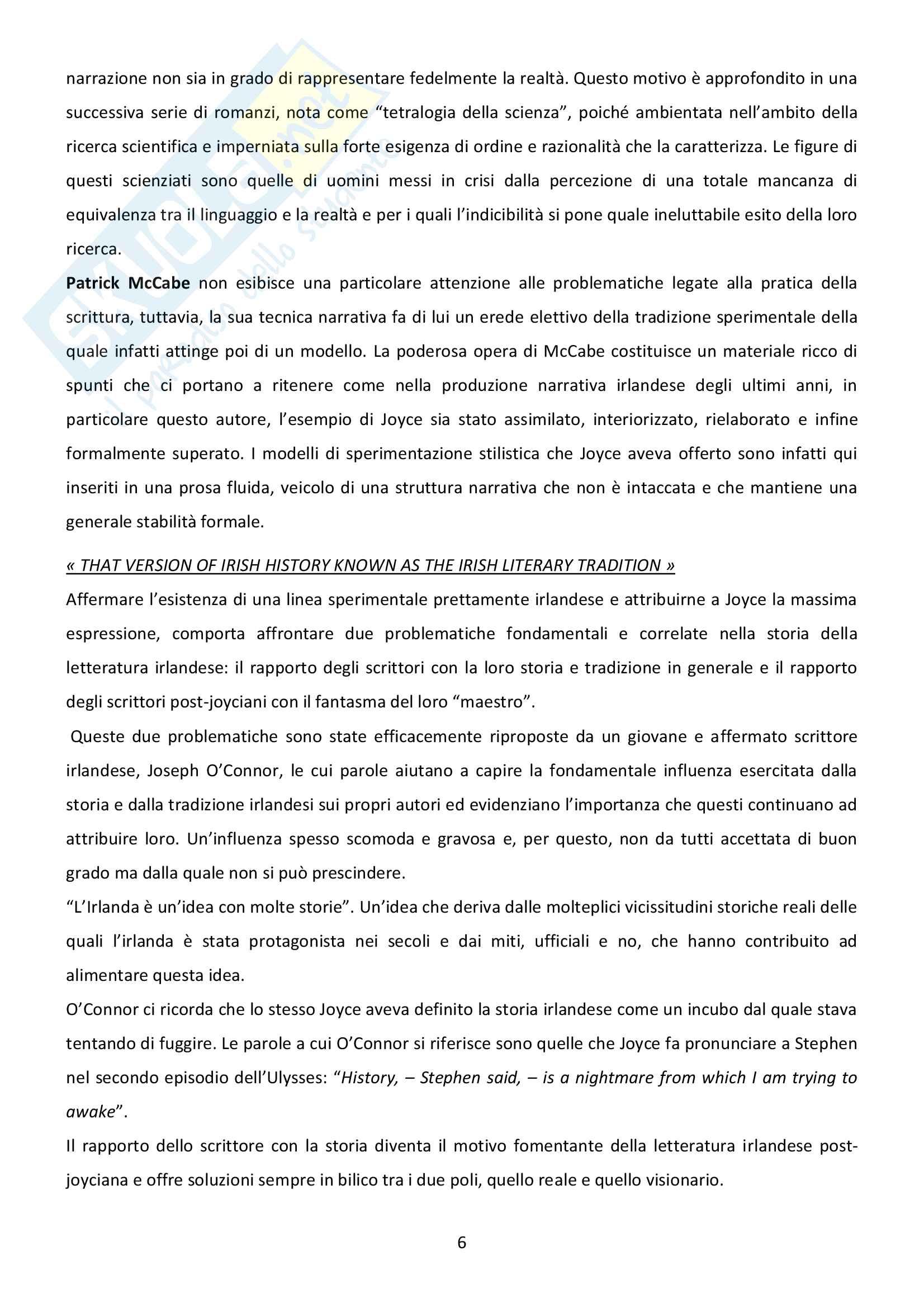 Riassunto esame Letteratura inglese, prof. Bendelli, libro consigliato La Veglia di Joyce Pag. 6