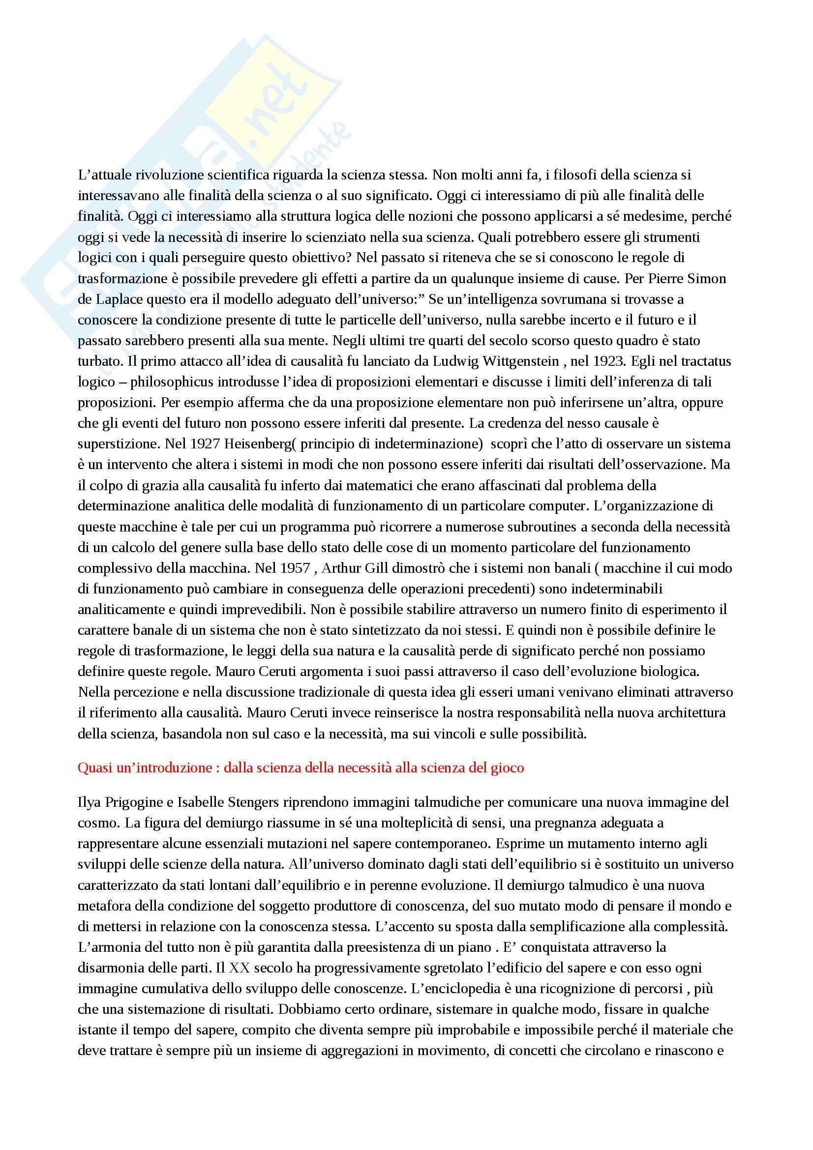 Riassunto esame Filosofia della scienza, prof. Arpaia, libro consigliato Il vincolo e la possibilità, Ceruti
